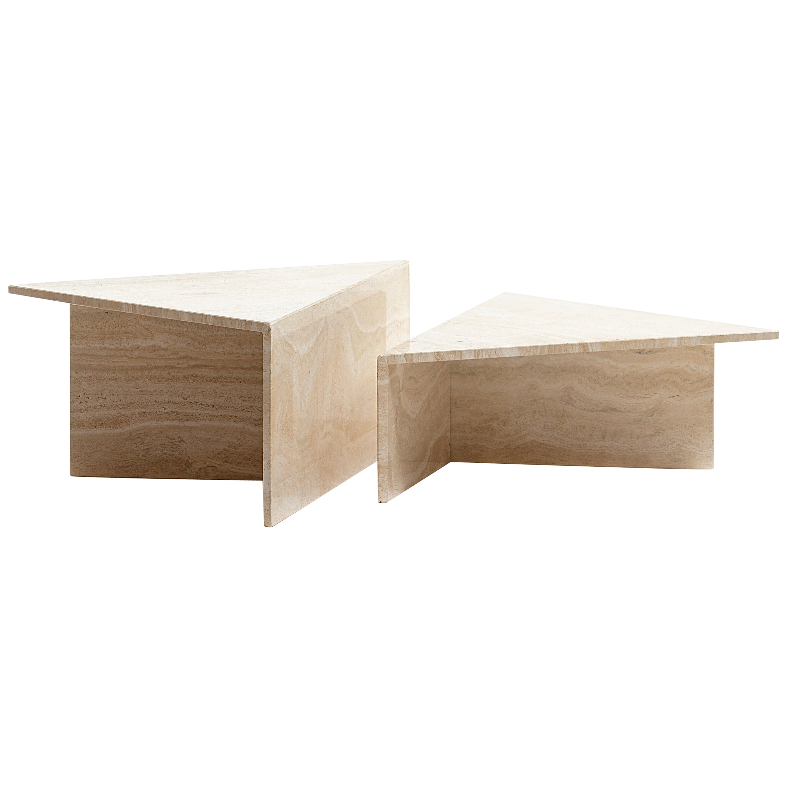 Large Italian Two Part Travertine Modular Coffee Table by Up & Up, circa 1970s