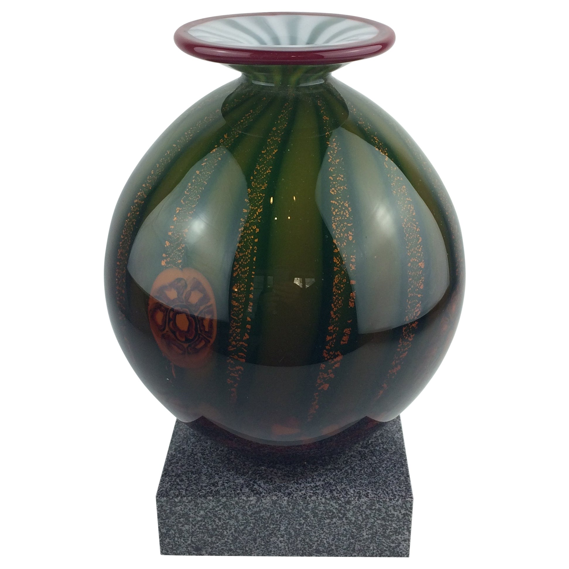 Barovier and Toso Murano Multicolored Aventurine Art Glass Vase Marble Base