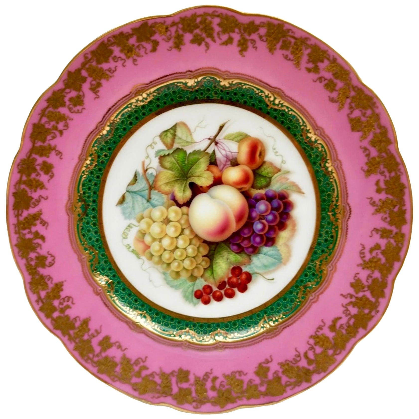 Coalport Porcelain Plate, Rose Du Barry Pink, Fruits by Jabey Aston, circa 1870