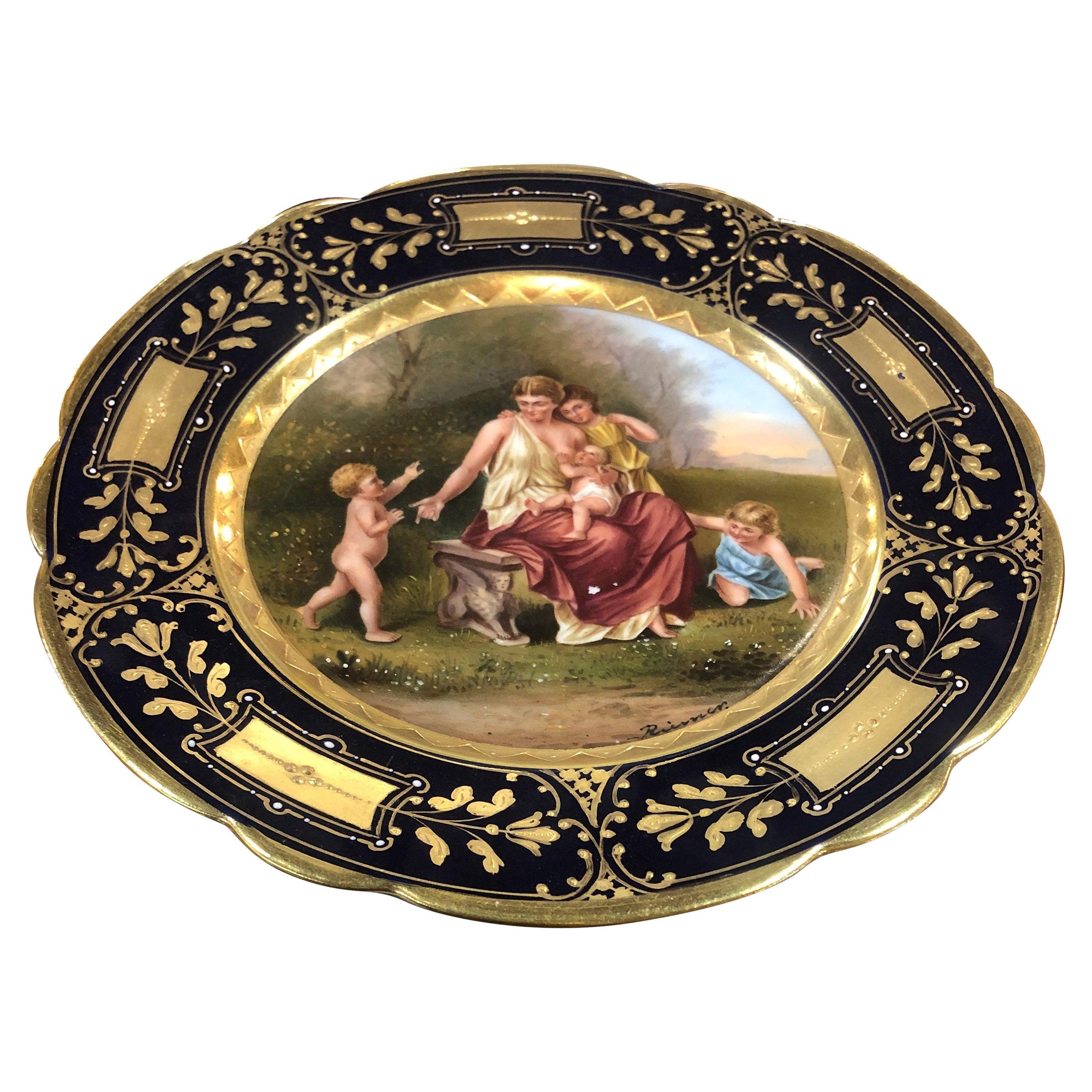 19th Century Biedermeier Porcelain Royal Vienna Hand Painted and Gilt, 1870s