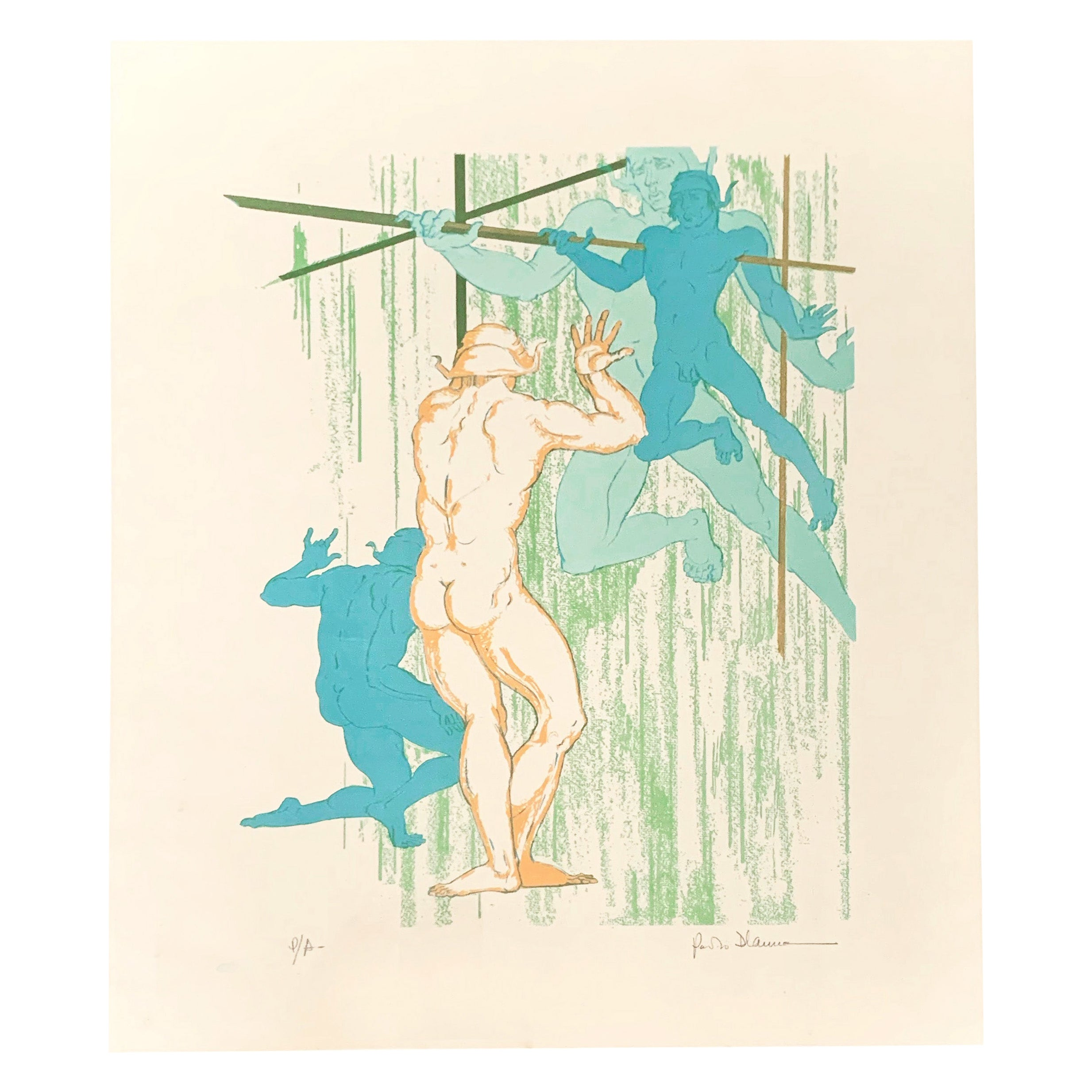 """""""Nude Dancers,"""" Rare Midcentury Color Print with Male Nudes by D'Anna"""