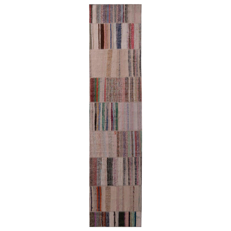 Rug & Kilim's Patchwork Modern Geometric Beige Brown Wool Colorful Kilim Runner