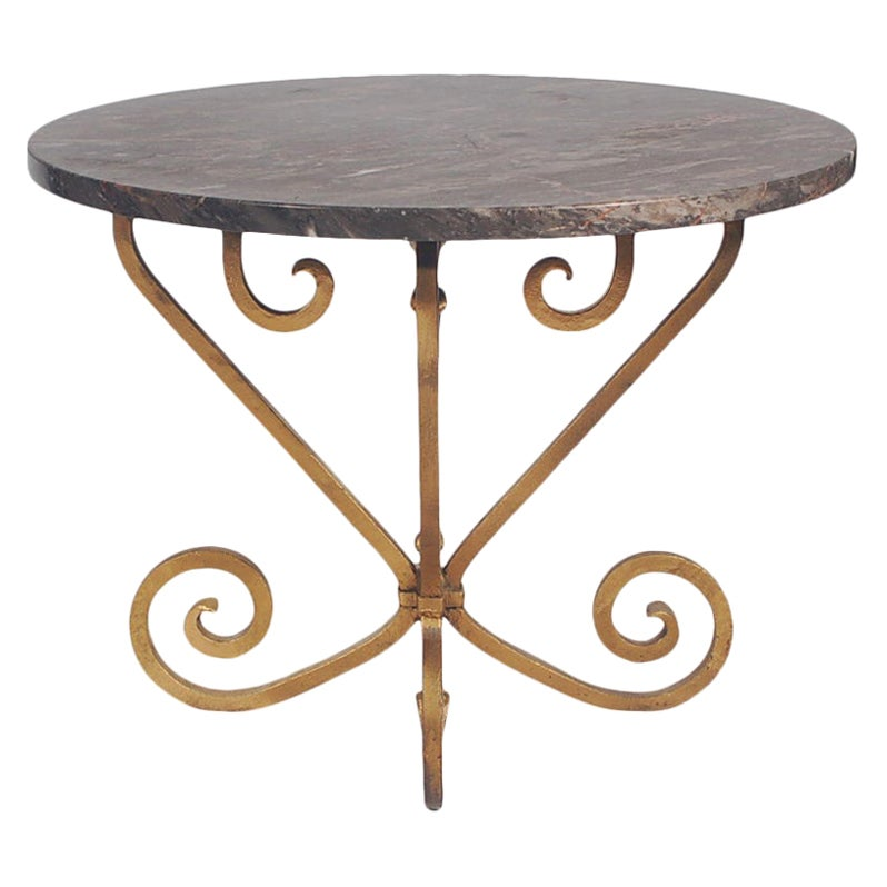 Hollywood Regency Gold Wrought Iron and Black Marble Side Table or End Table