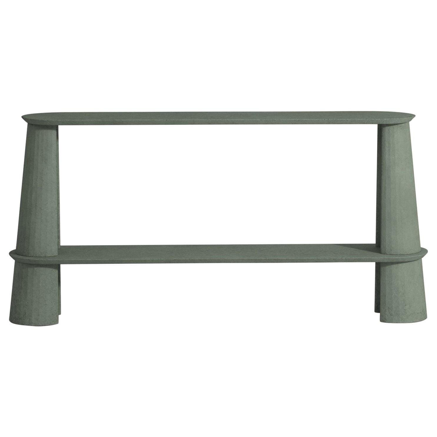 21st Century Studio Irvine Fusto Side Console Table Concrete Cement Green Fir