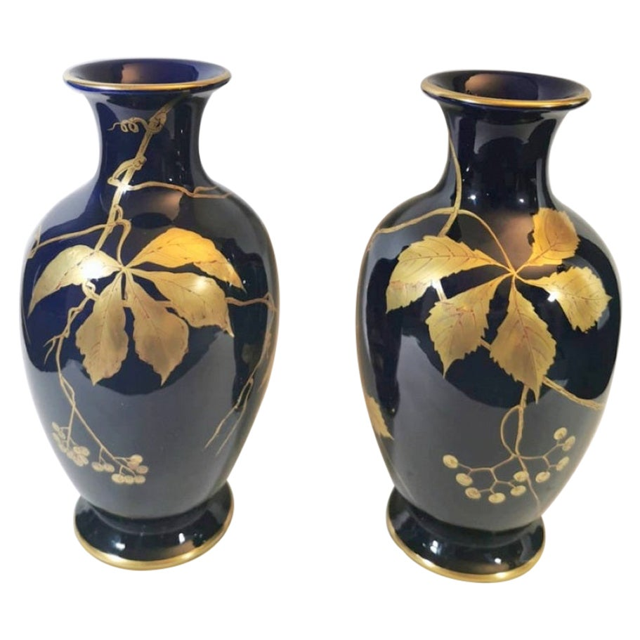 Gustave Asch Sainte Radegonde Pair of Blue Glazed Terracotta Vases