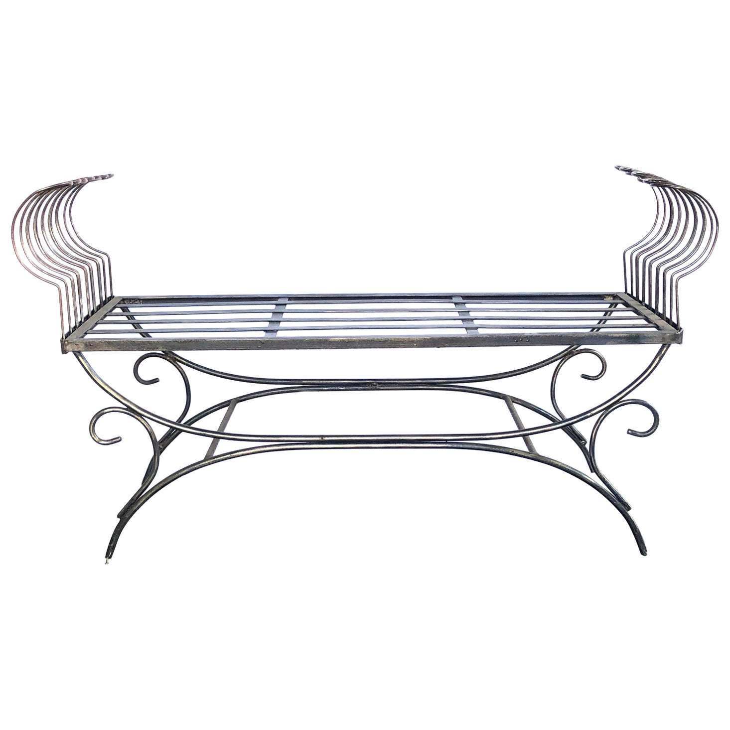 French 1950s Raw Iron Curule-Form Bench with Incurved Arms