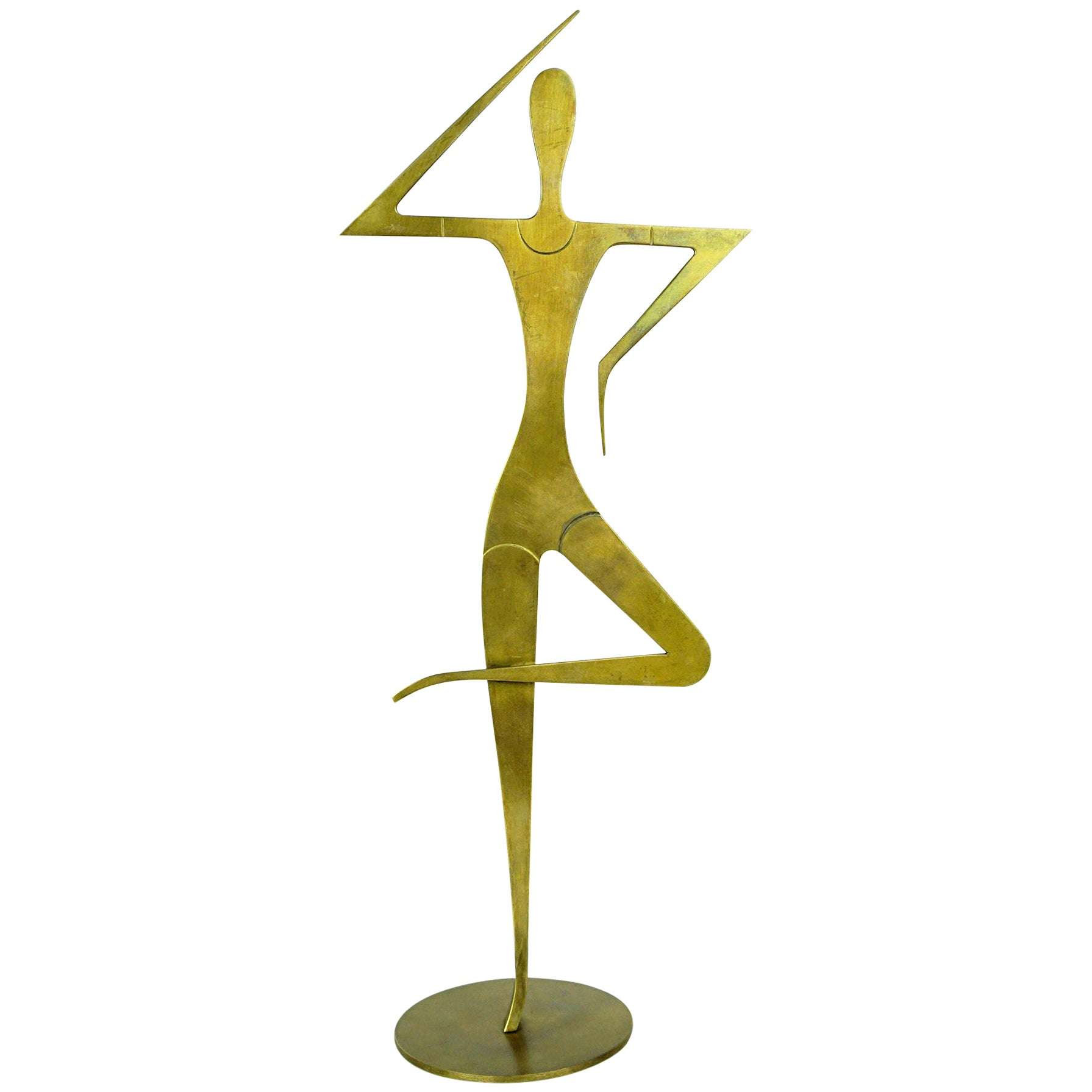 Austrian Midcentury Brass Female Gymnast Sculpture by Franz Hagenauer