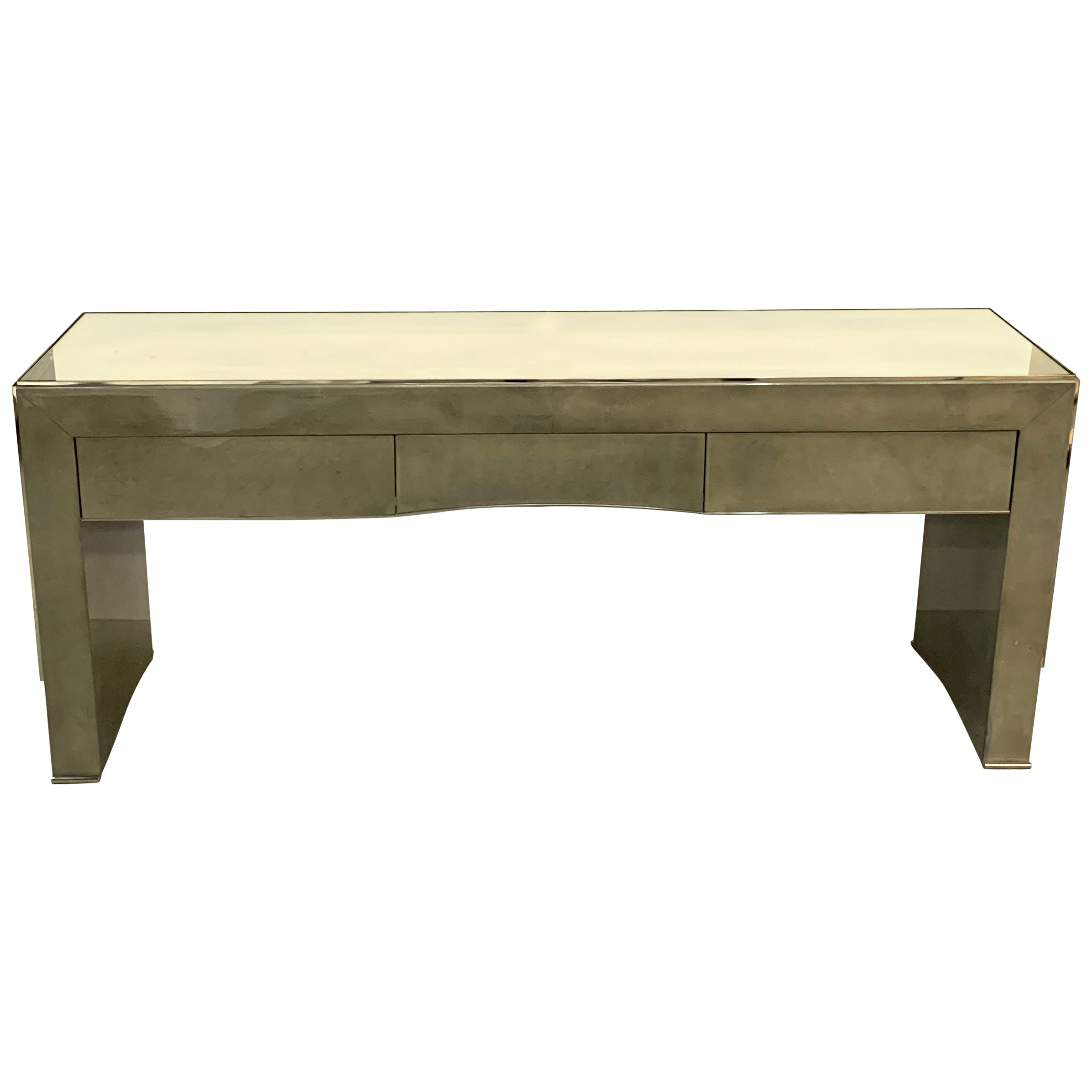 Wonderful Mid-Century Modern Pastel Soft Goat Skin Mirrored Nickel Console Table