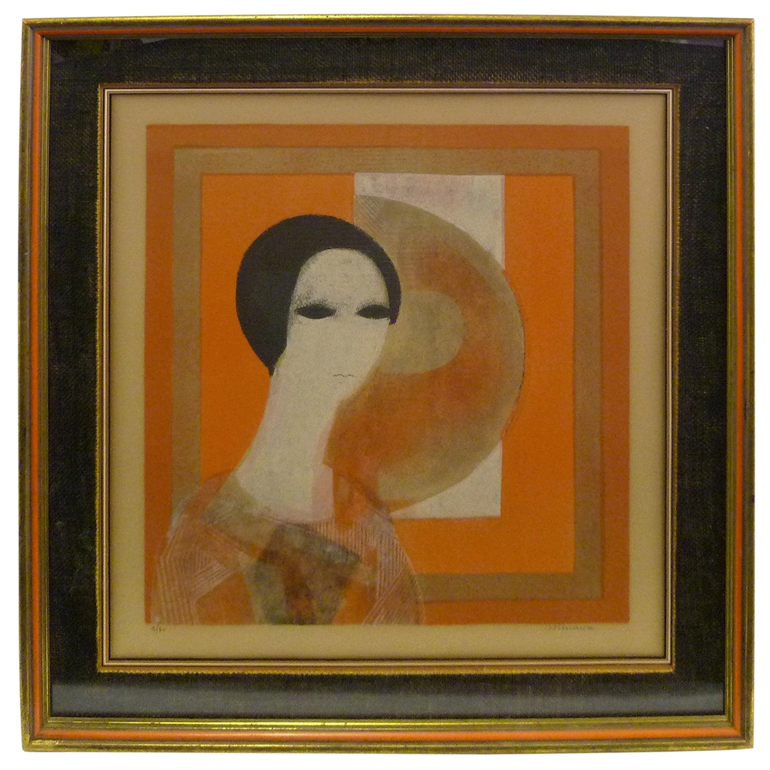 1960s André Minaux Framed Lithograph Signed and Numbered