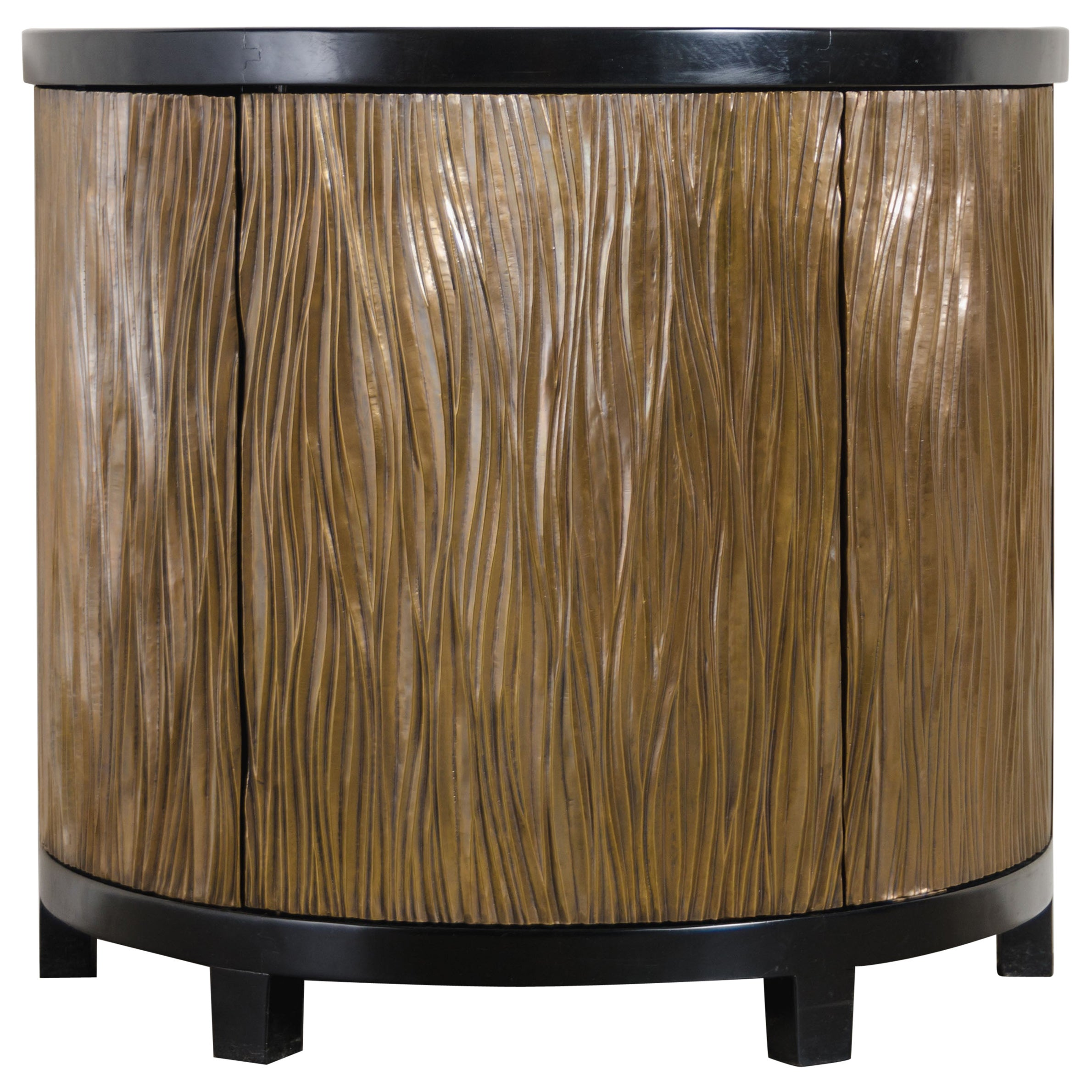 Demilune Cabinet with 3 Pleats Door, Brass by Robert Kuo, Limited Edition
