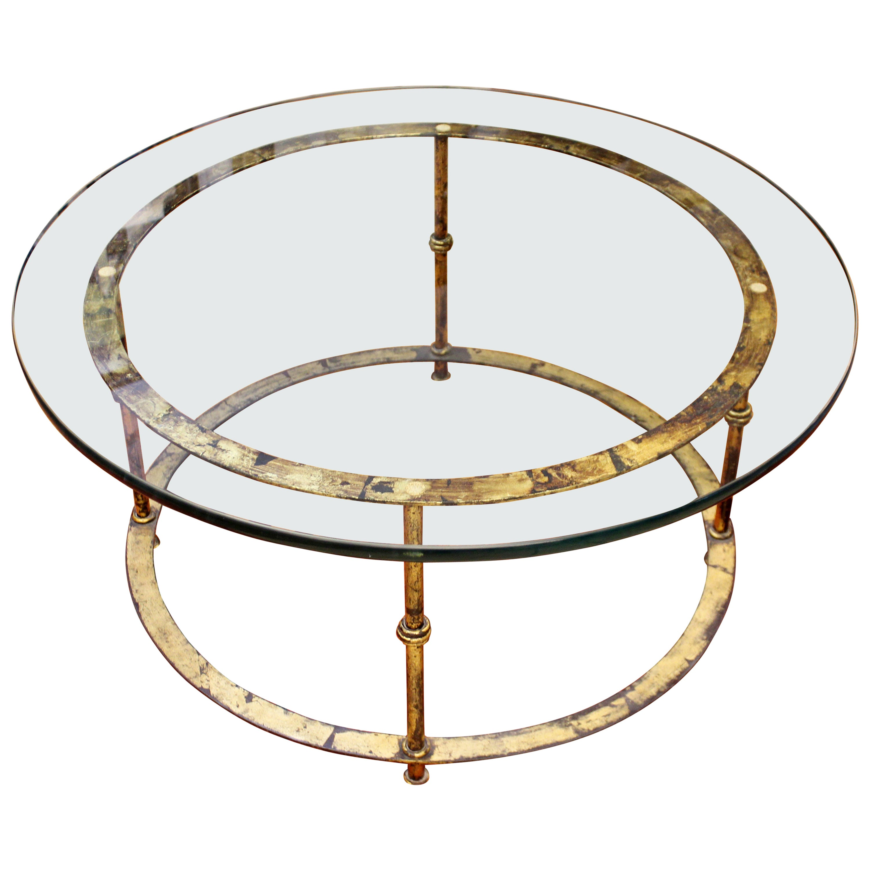 Mid-Century Modern Patina Brass and Glass Round Coffee Table, 1960s