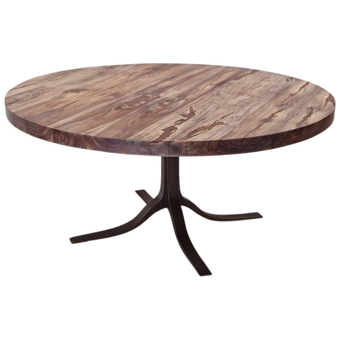 Bespoke Round Table, Reclaimed Hardwood, Brass Base by P. Tendercool