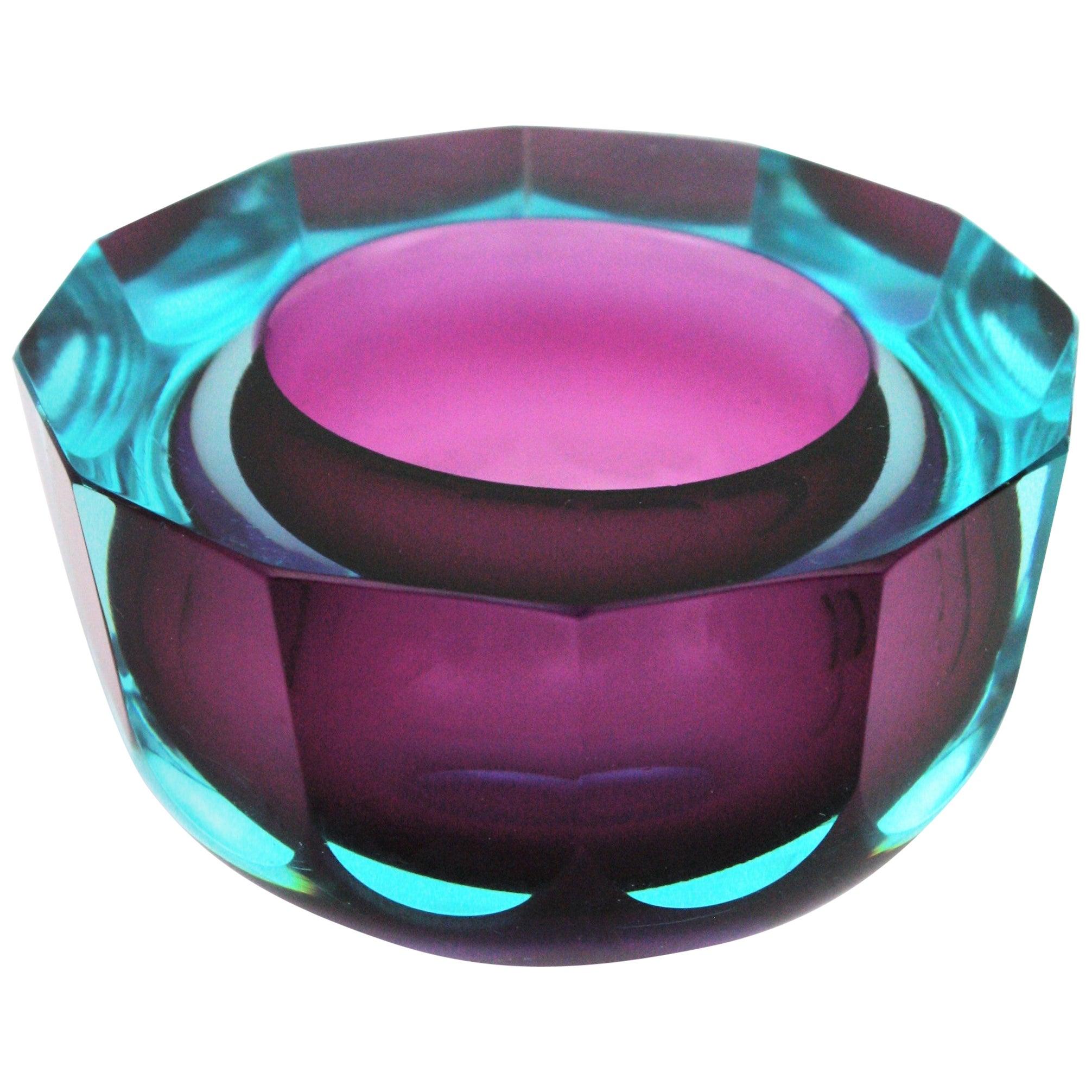 Flavio Poli Seguso Vetri d'Arte Murano Art Glass Sommerso Blue Purple Bowl
