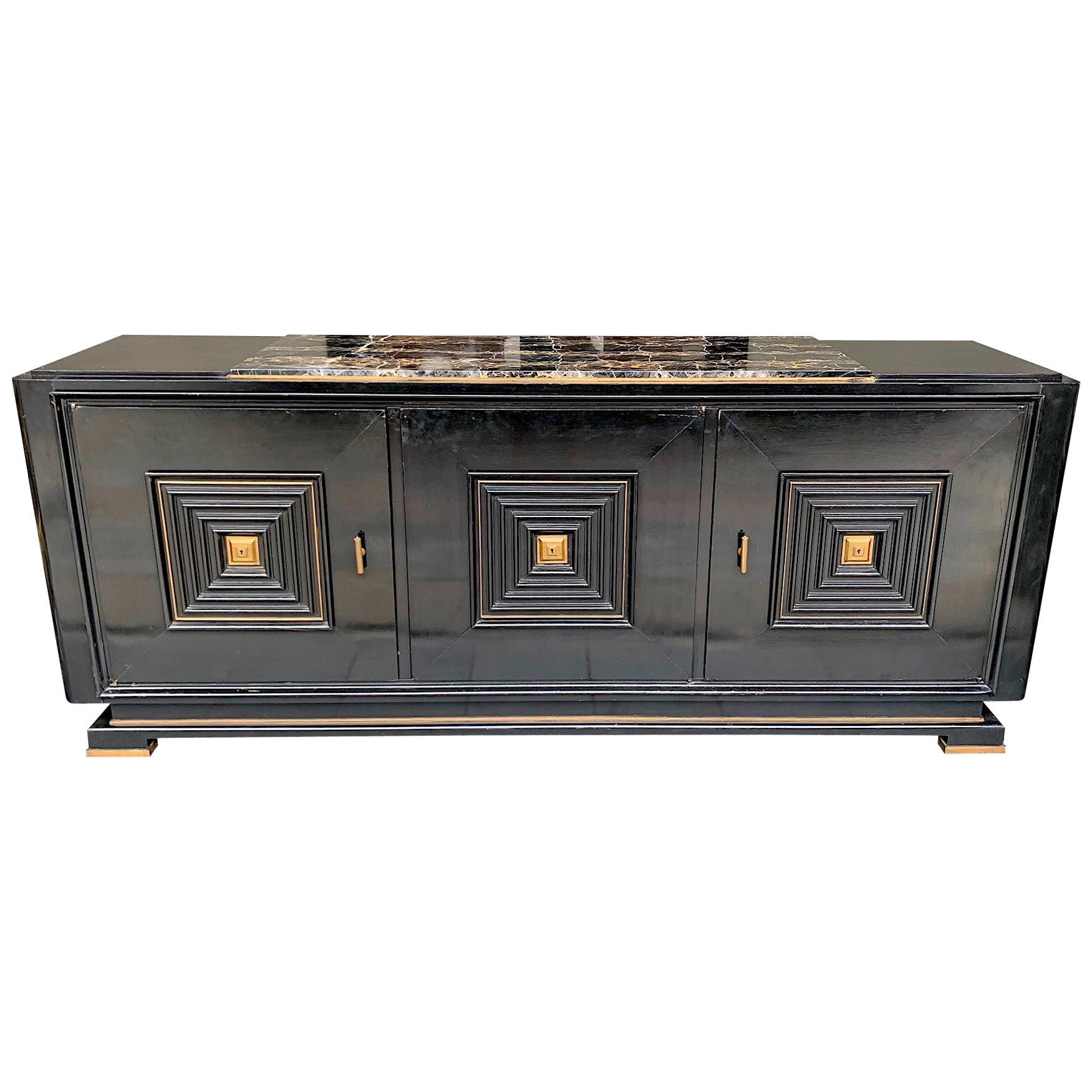 Quality Art Deco Ebonized Three-Door Sideboard with Nero Portoro Marble Top