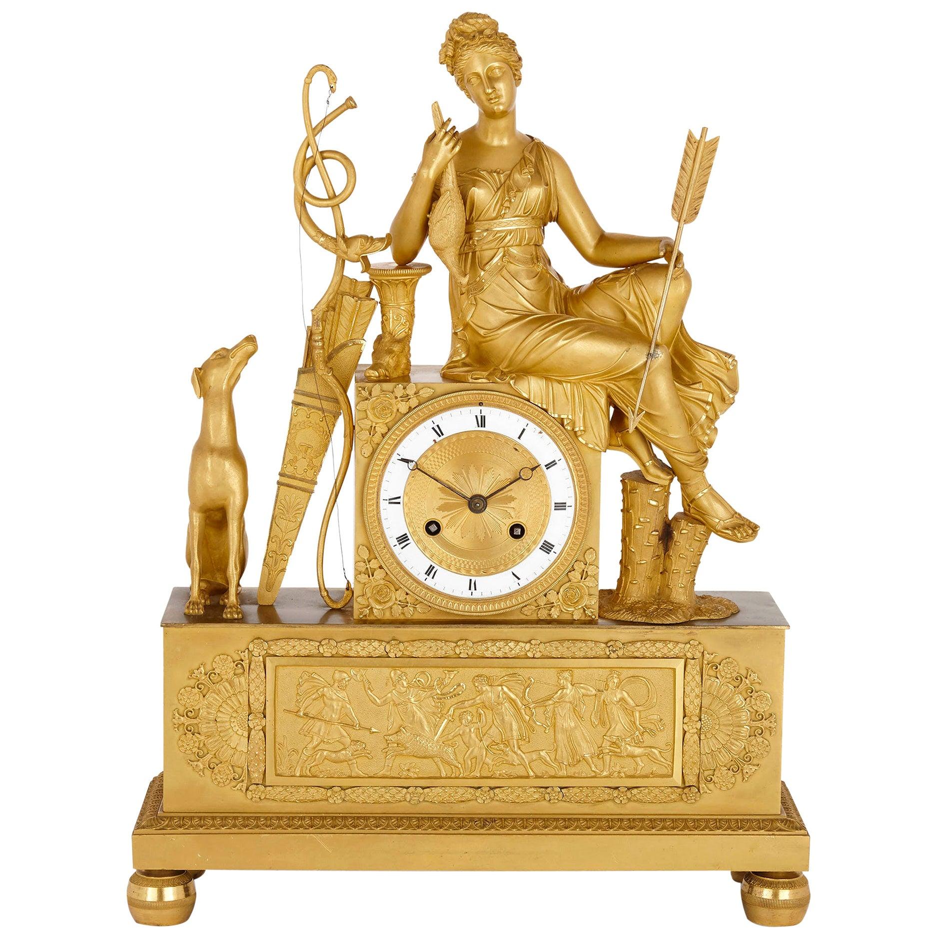 French Empire Period Gilt Bronze Mantel Clock