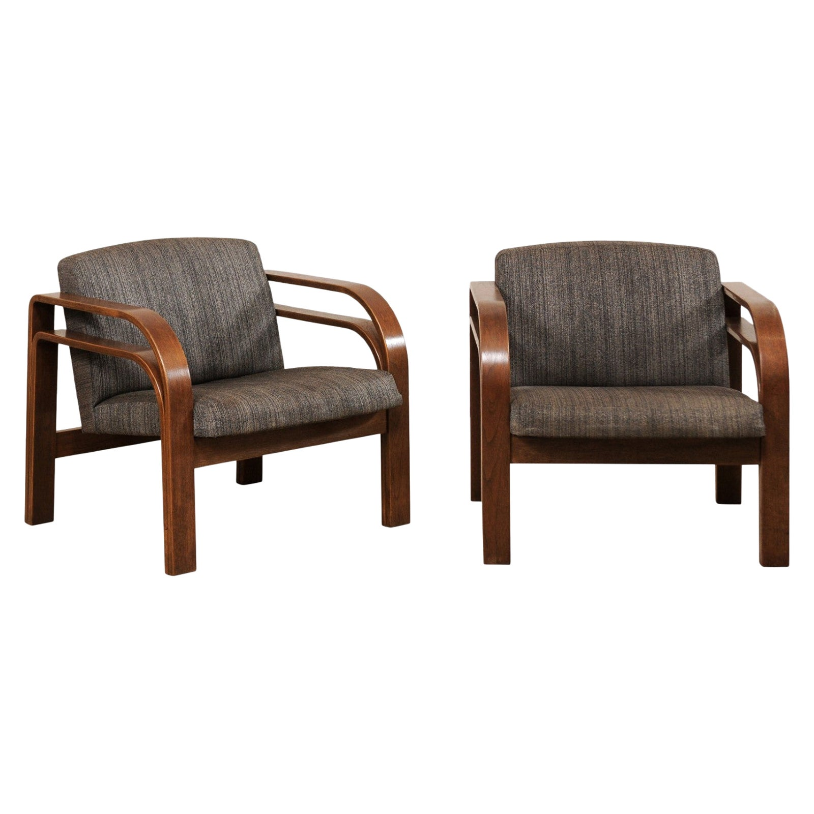 French Pair of Double Bent-Wood Armchairs with Upholstered Seat and Back