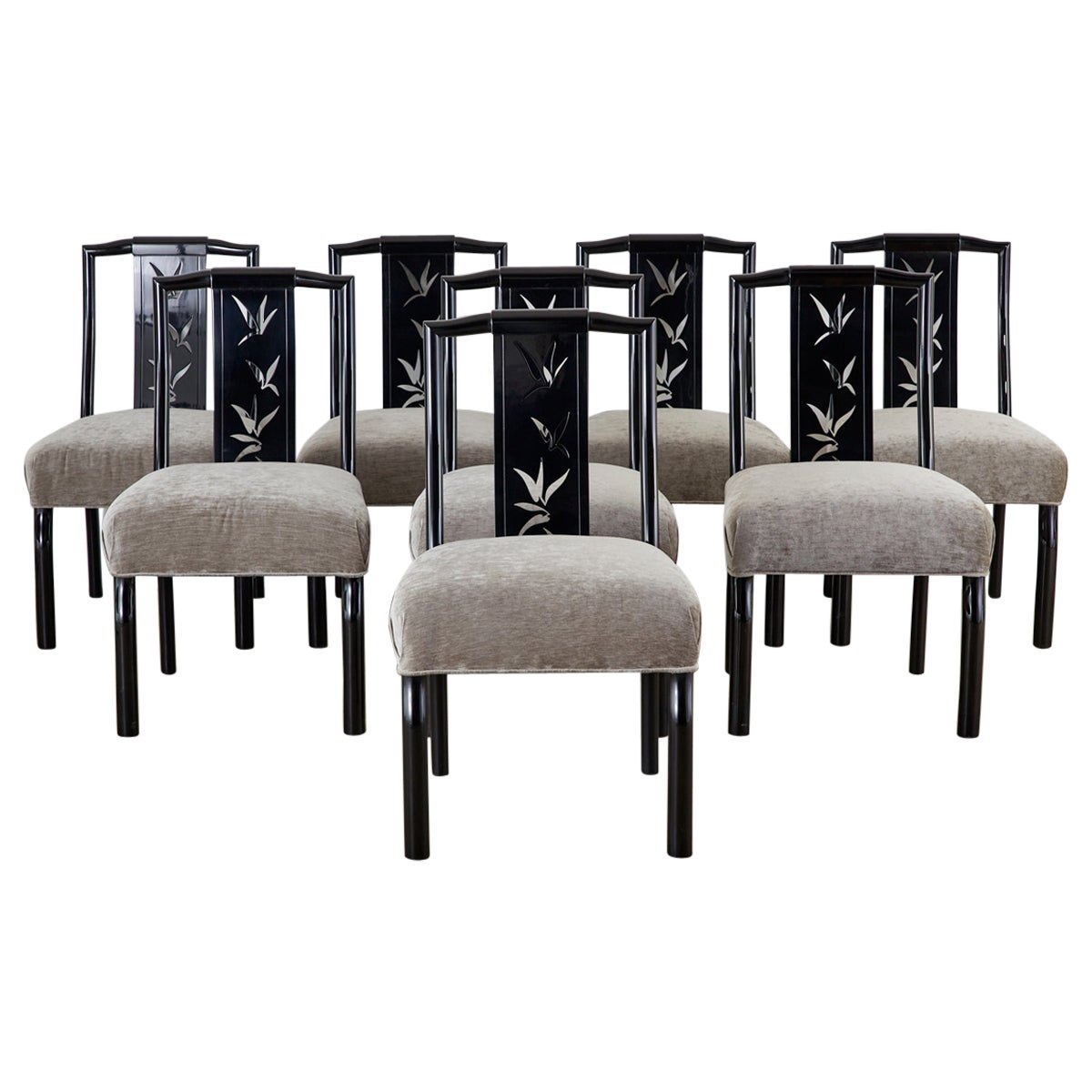 Set of Eight James Mont Lacquered Dining Chairs