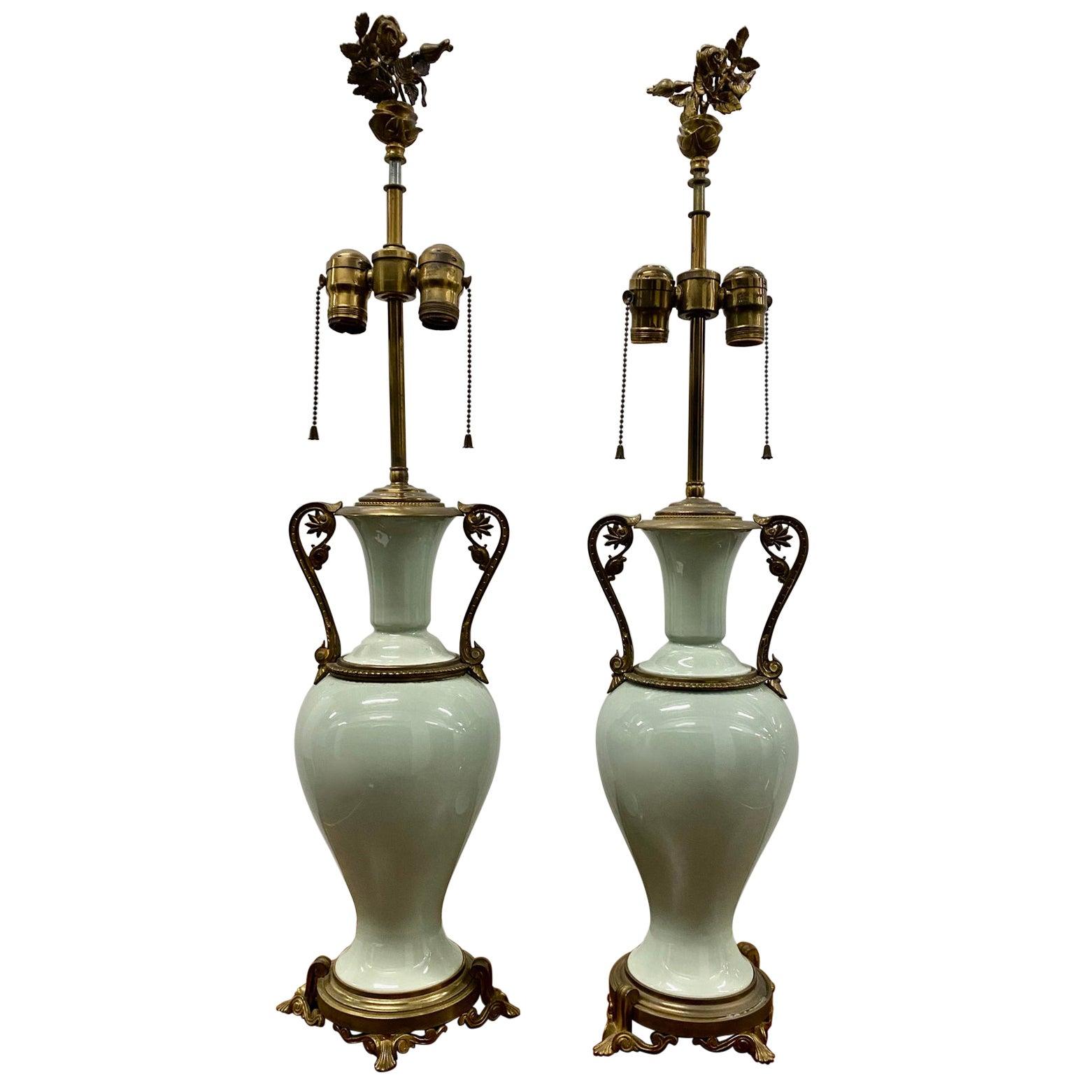 Pair of Elegant Sage Green Porcelain Table Lamps with Ormolu Mounts, circa 1940