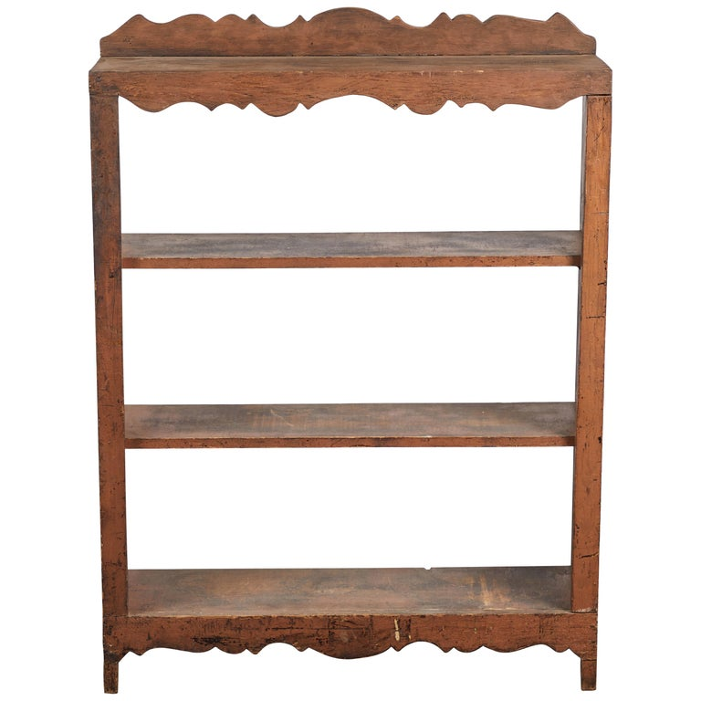 Early American Scalloped Wall Hanging Shelf For Sale