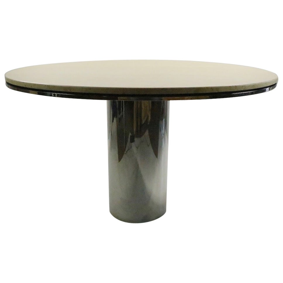 Polished Steel and Marble Anello Dining Table by Brueton