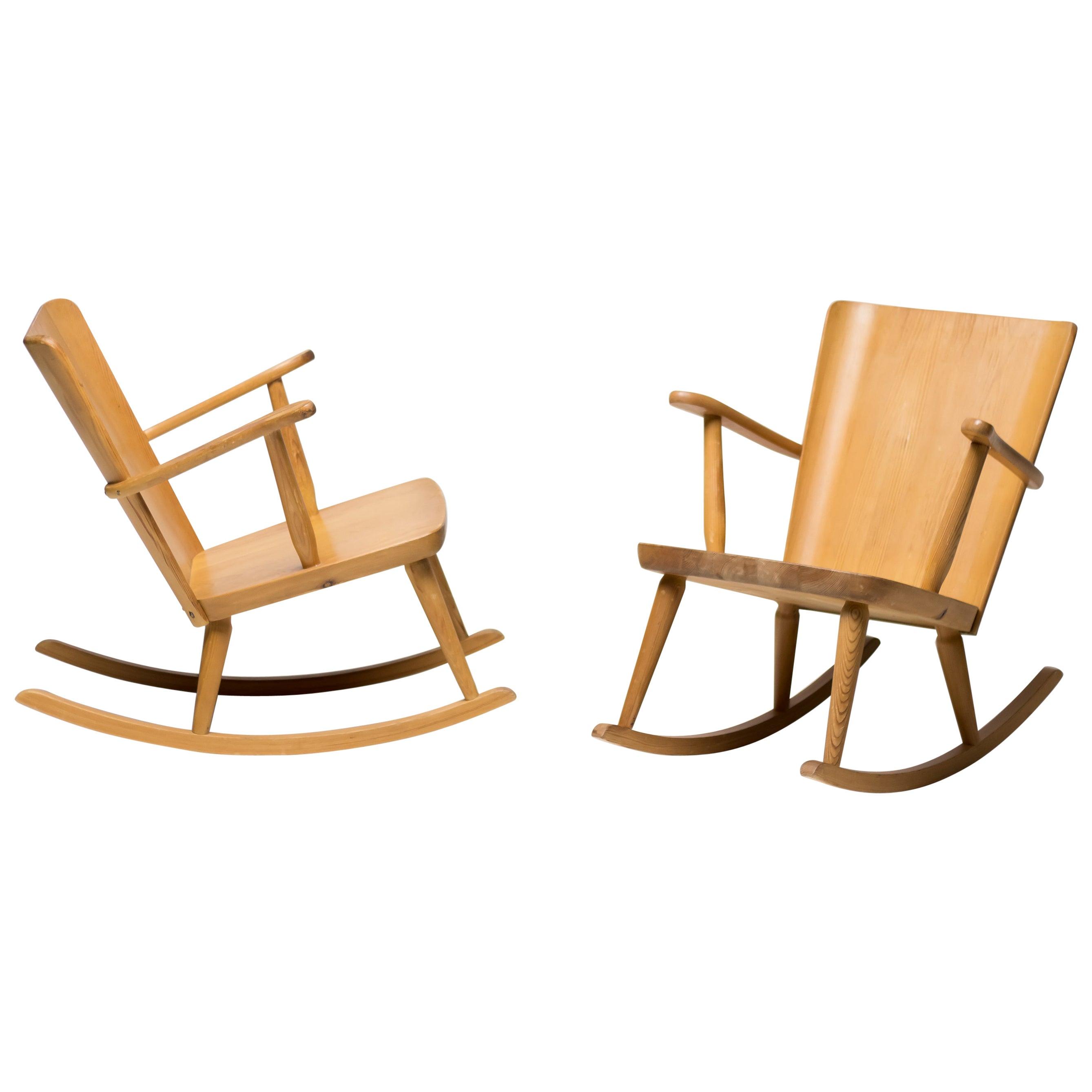 Pair of Scandinavian Pine Rocking Chairs