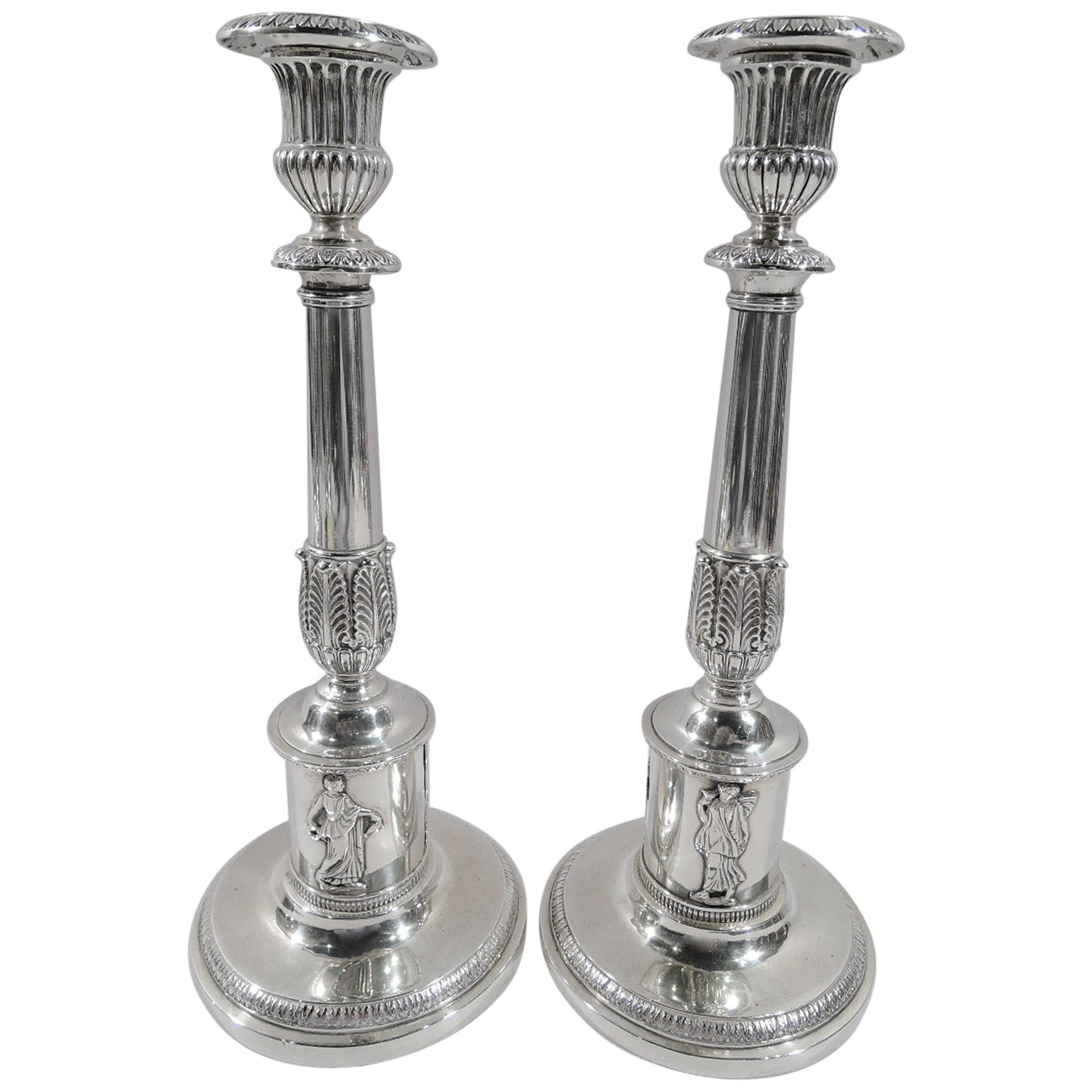 Pair of German Neoclassical Tall Silver Candlesticks, Early 19th Century