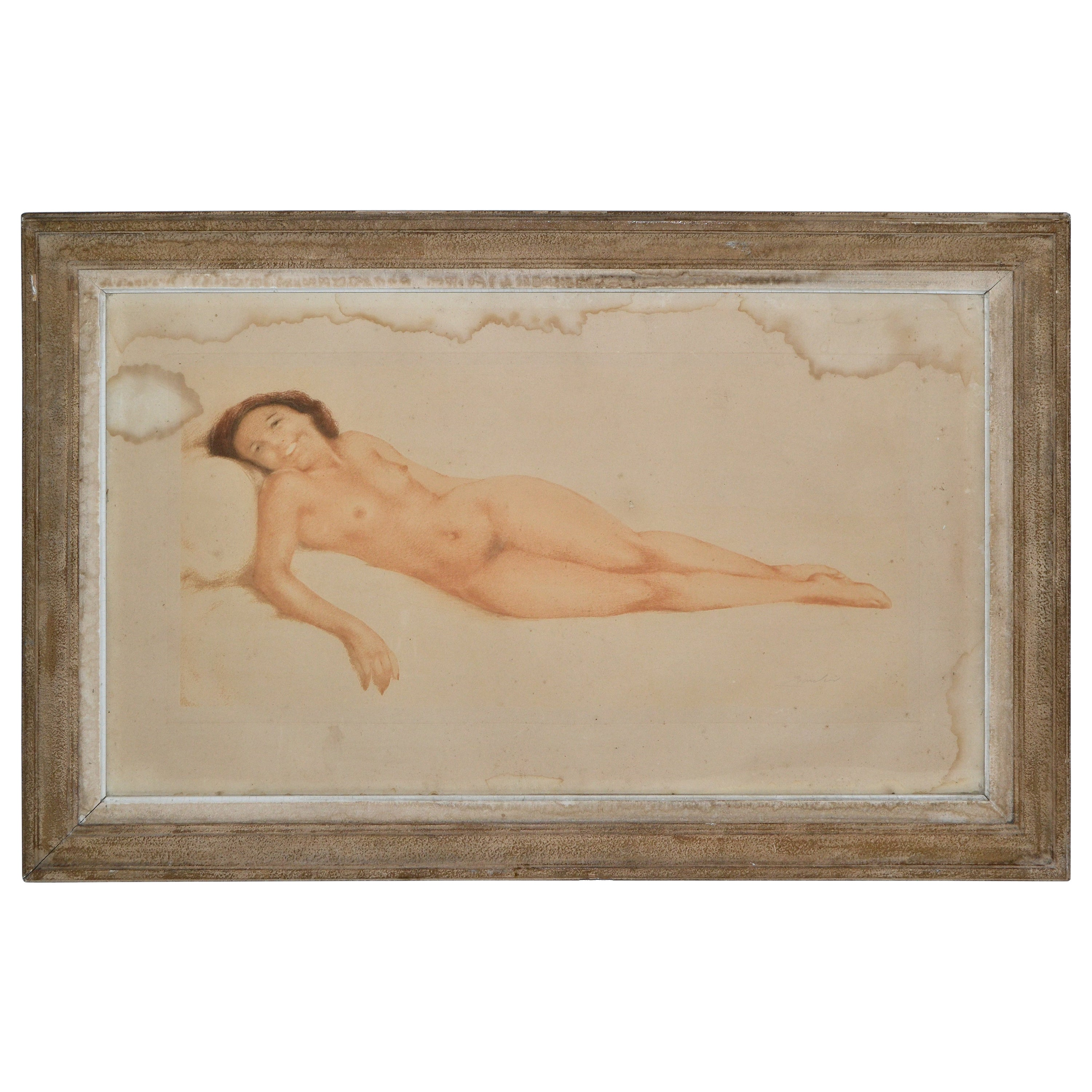 Signed by Artist French Midcentury Framed Glass Oil Painting Resting Nude Woman