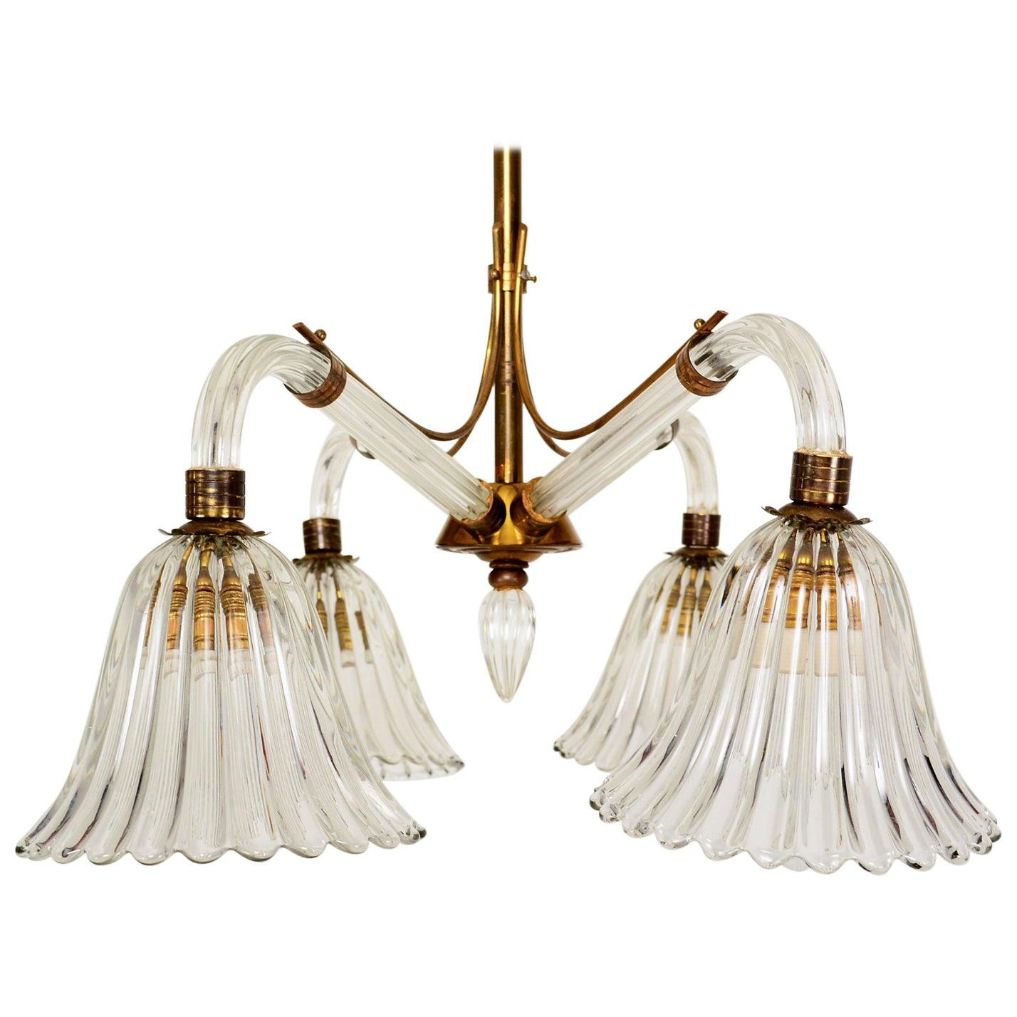 Translucent Venetian Murano Glass Barovier Art Deco Chandelier, 1940s, Italy