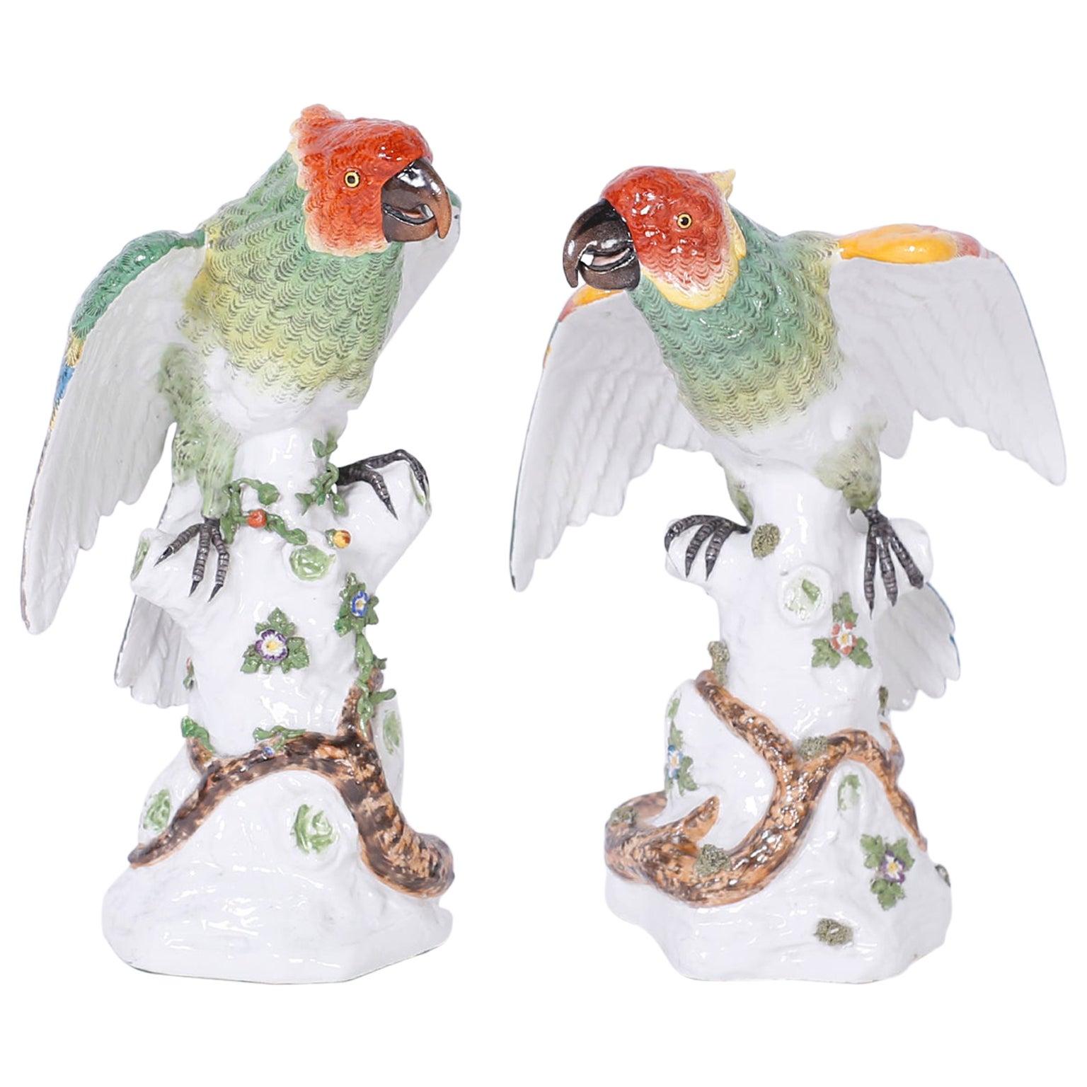 Pair of French Porcelain Parrots