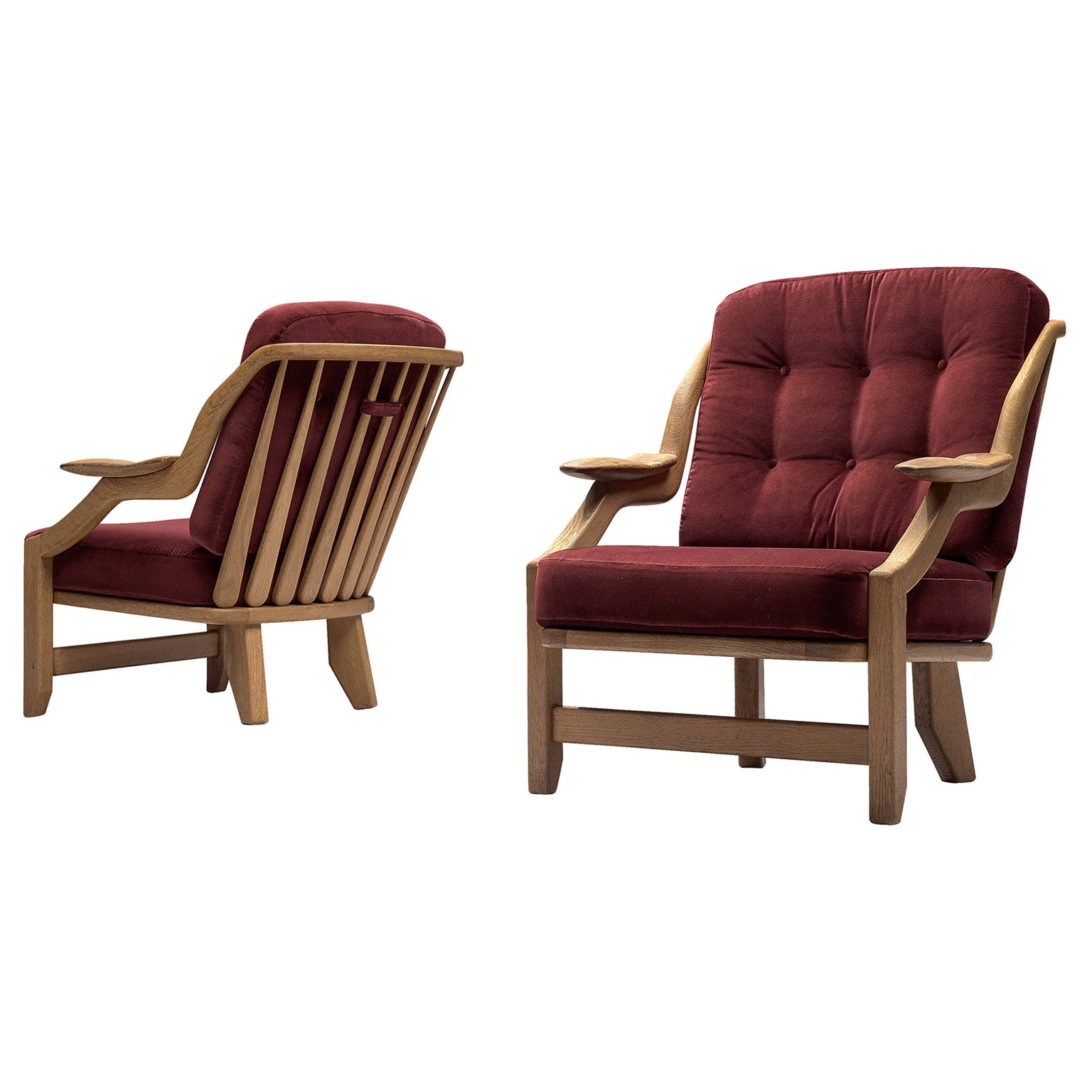Pair of Guillerme et Chambron Lounge Chairs in Burgundy Upholstery