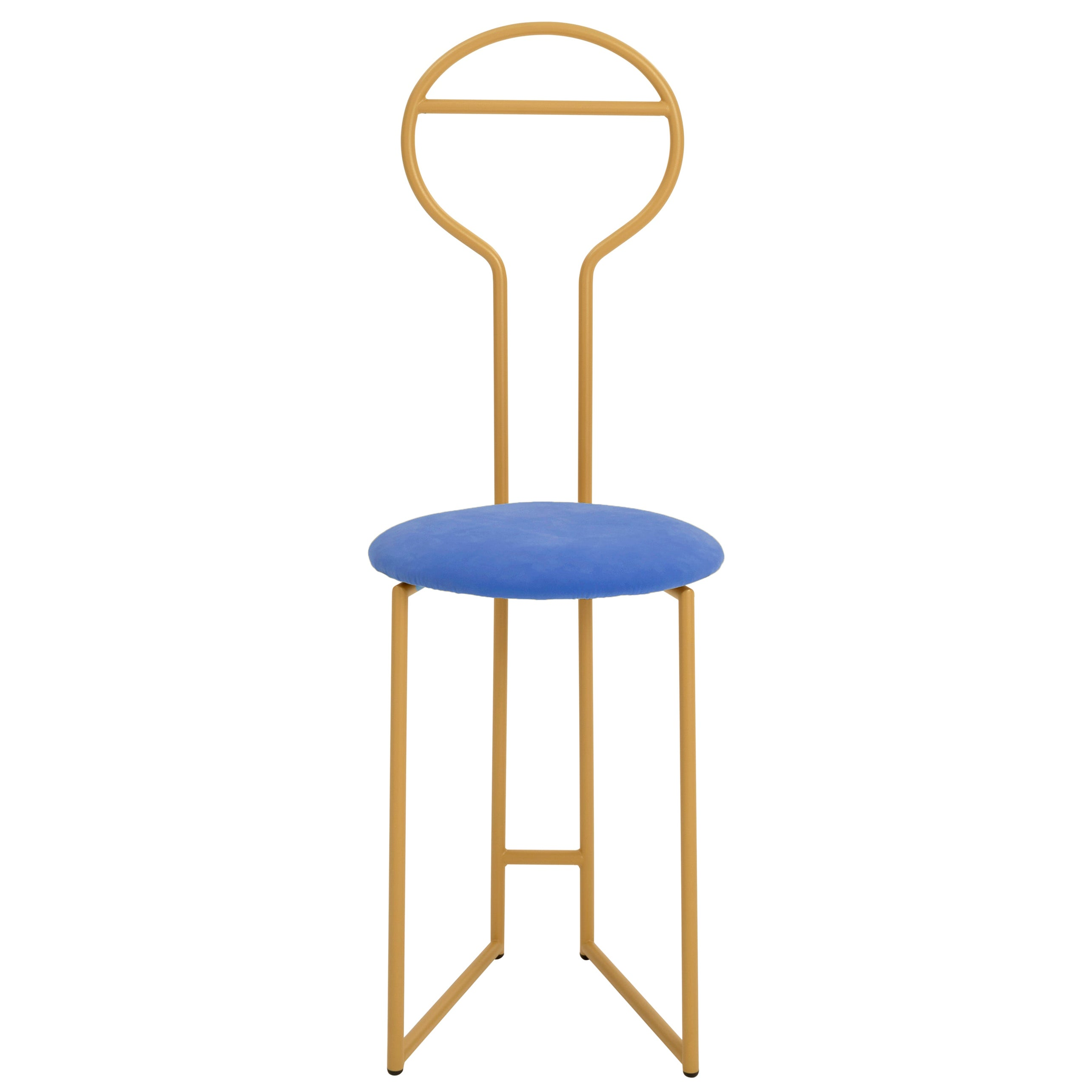 Joly Chairdrobe, High Back, Gold Steel Structure and Electric Blue Fine Velvet