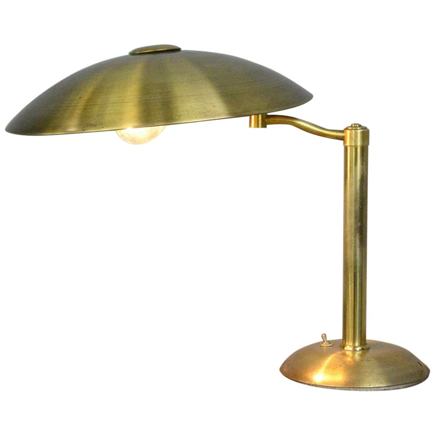 Swing Arm Brass Table Lamp by Hillebrand circa 1930s