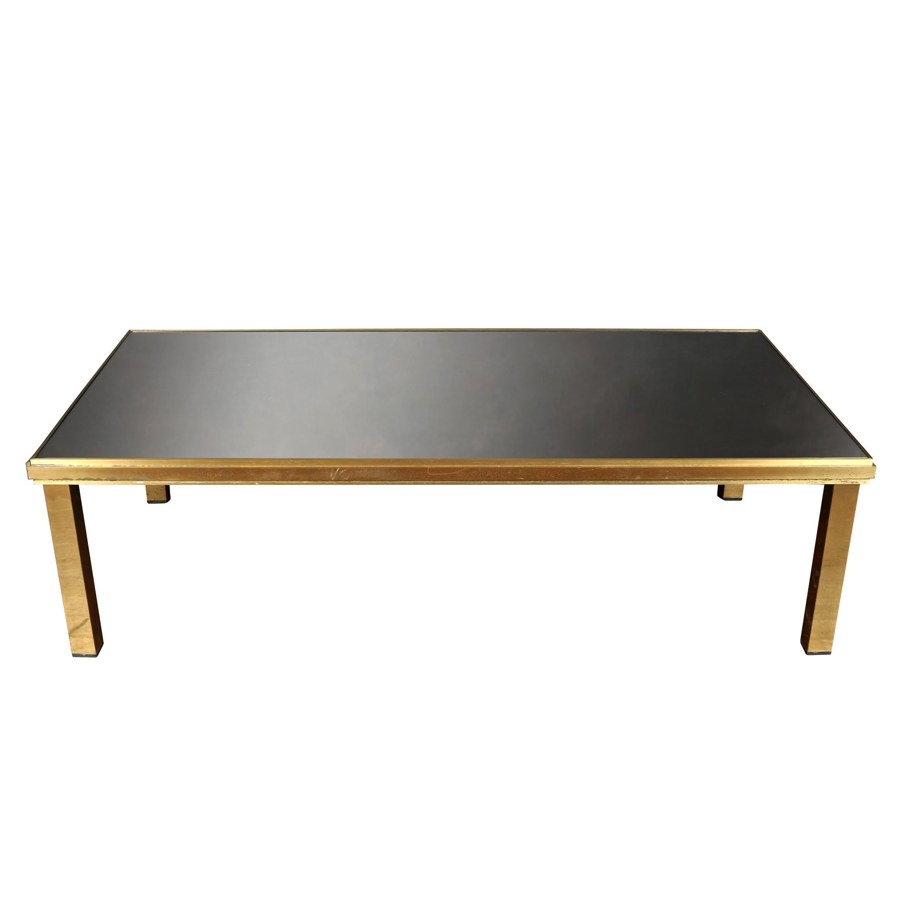 Vintage Deco Brass Coffee Table with Black Glass Top