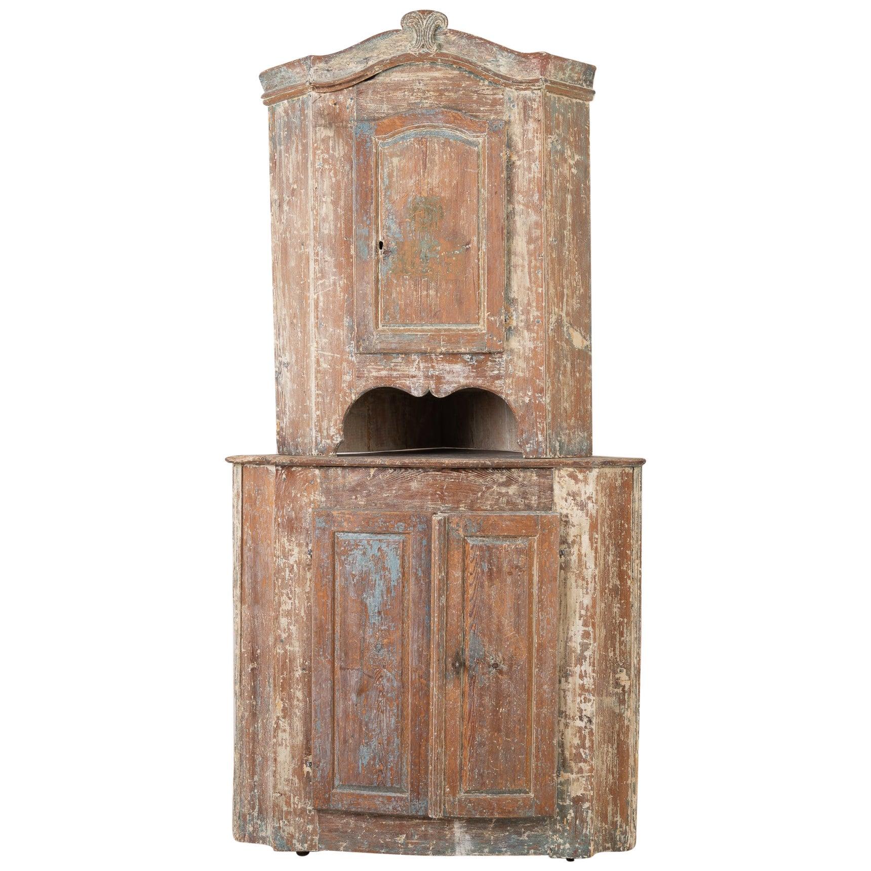 18th Century Swedish Pine Rococo Corner Cabinet