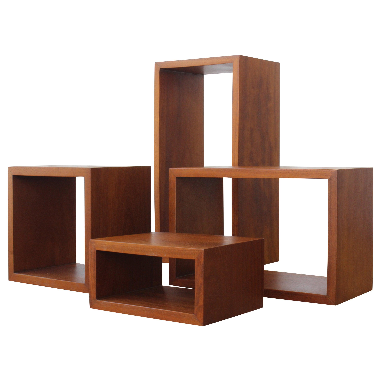 Set of Four Solid Teak Box Shelves, France, 1960s