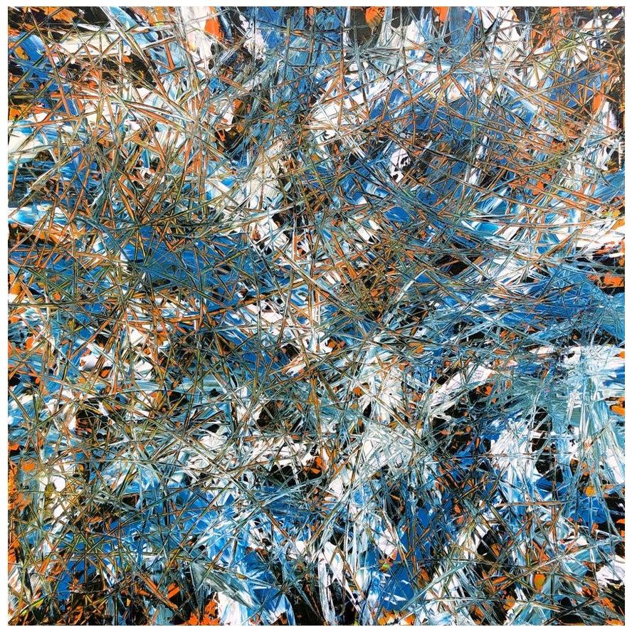 Acrylic Action Abstract Painting Blue White Orange Black