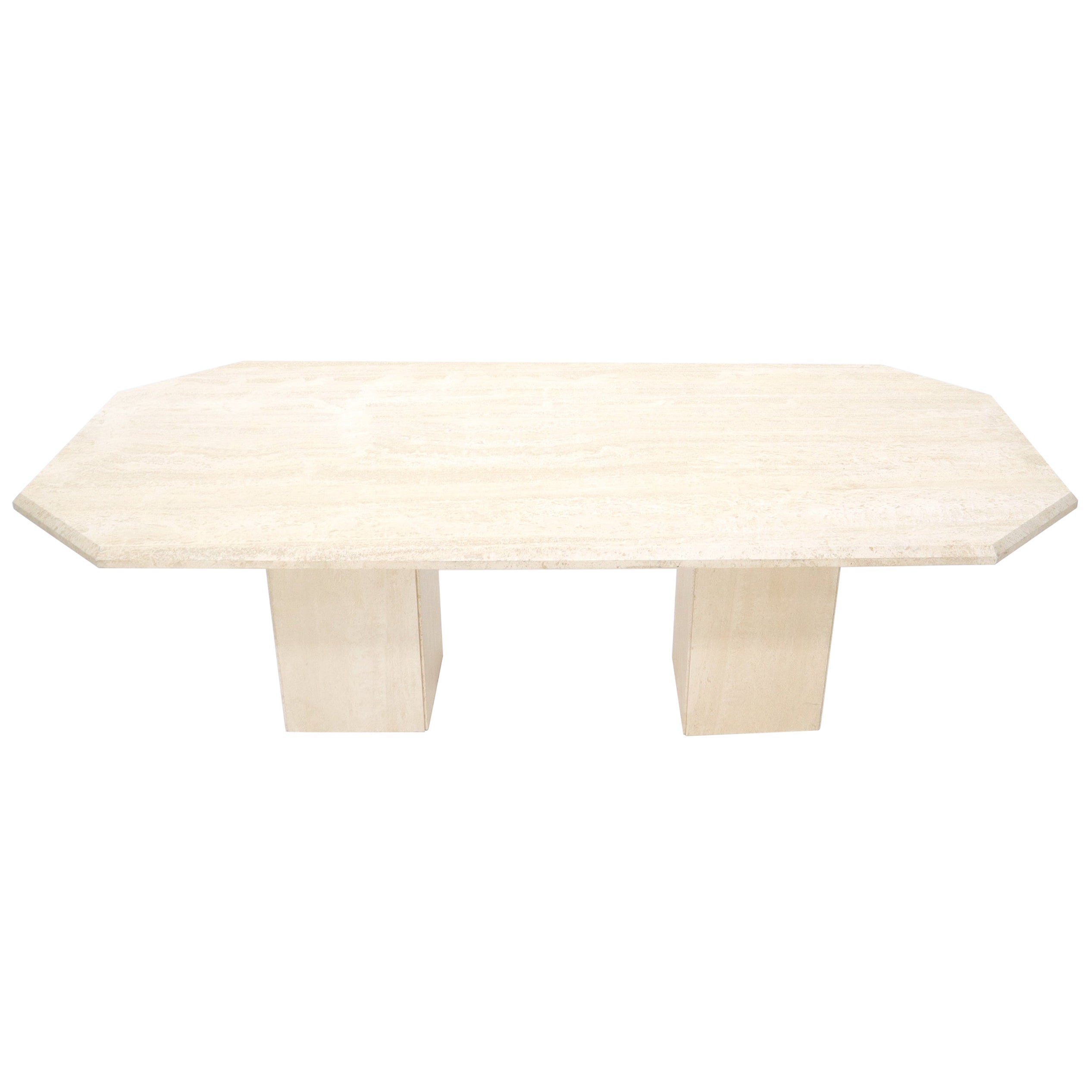 Large Rectangular Double Pedestal Travertine Dining or Conference Table