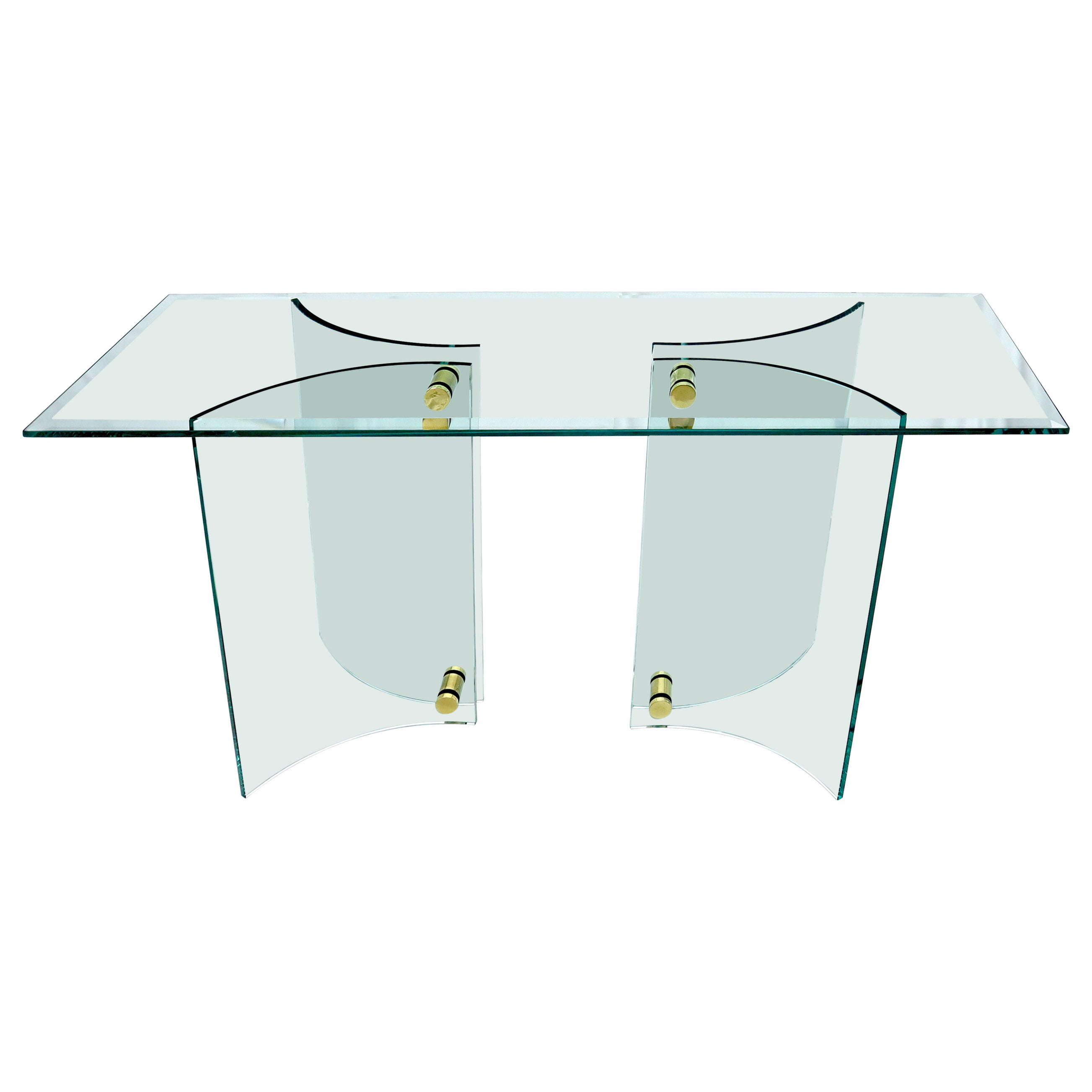 Curved Glass Base Glass Top Brass Stretchers Console Table