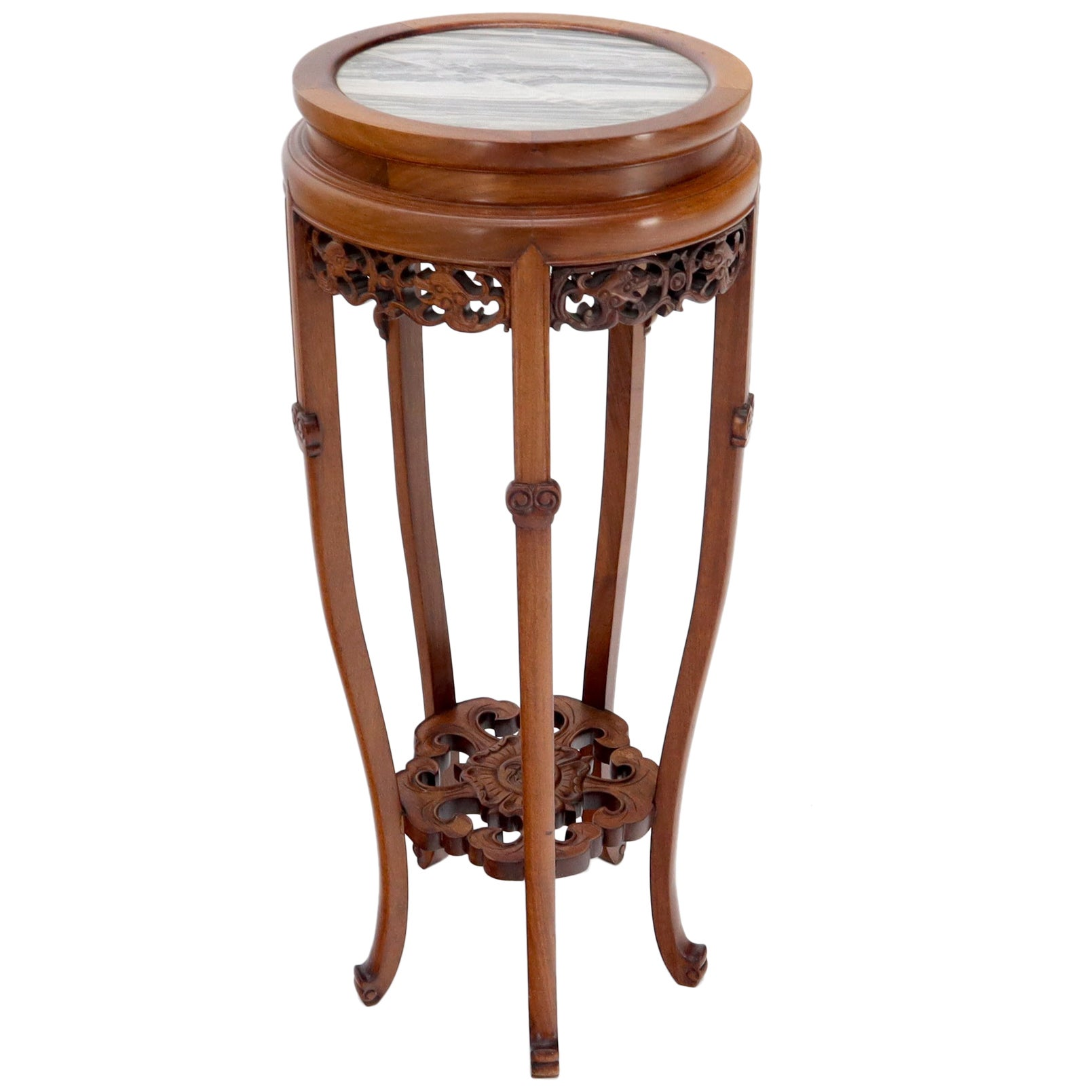 Chinese Carved Rosewood Marble Top Stand
