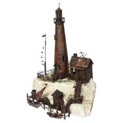 Large Jim Lewk Fishermen's Nautical Lighthouse Boat Coral Copper Sculpture