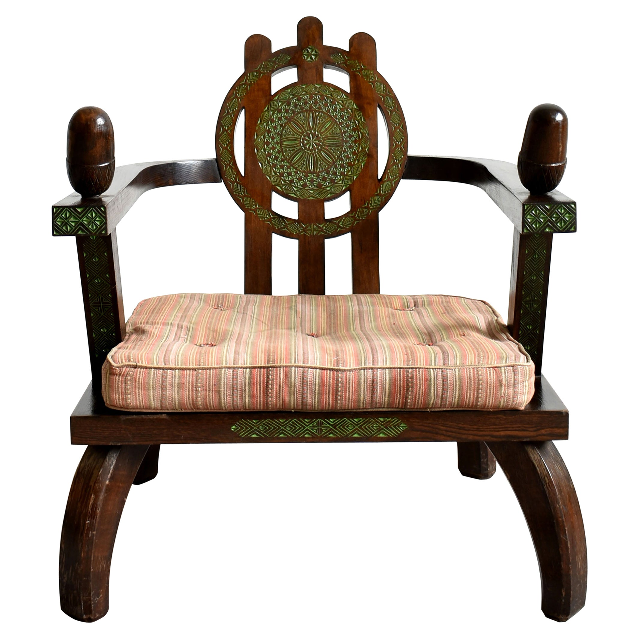 Lounge Chair by Ettore Zaccari, Oak with Carved Details, Italy, 1910