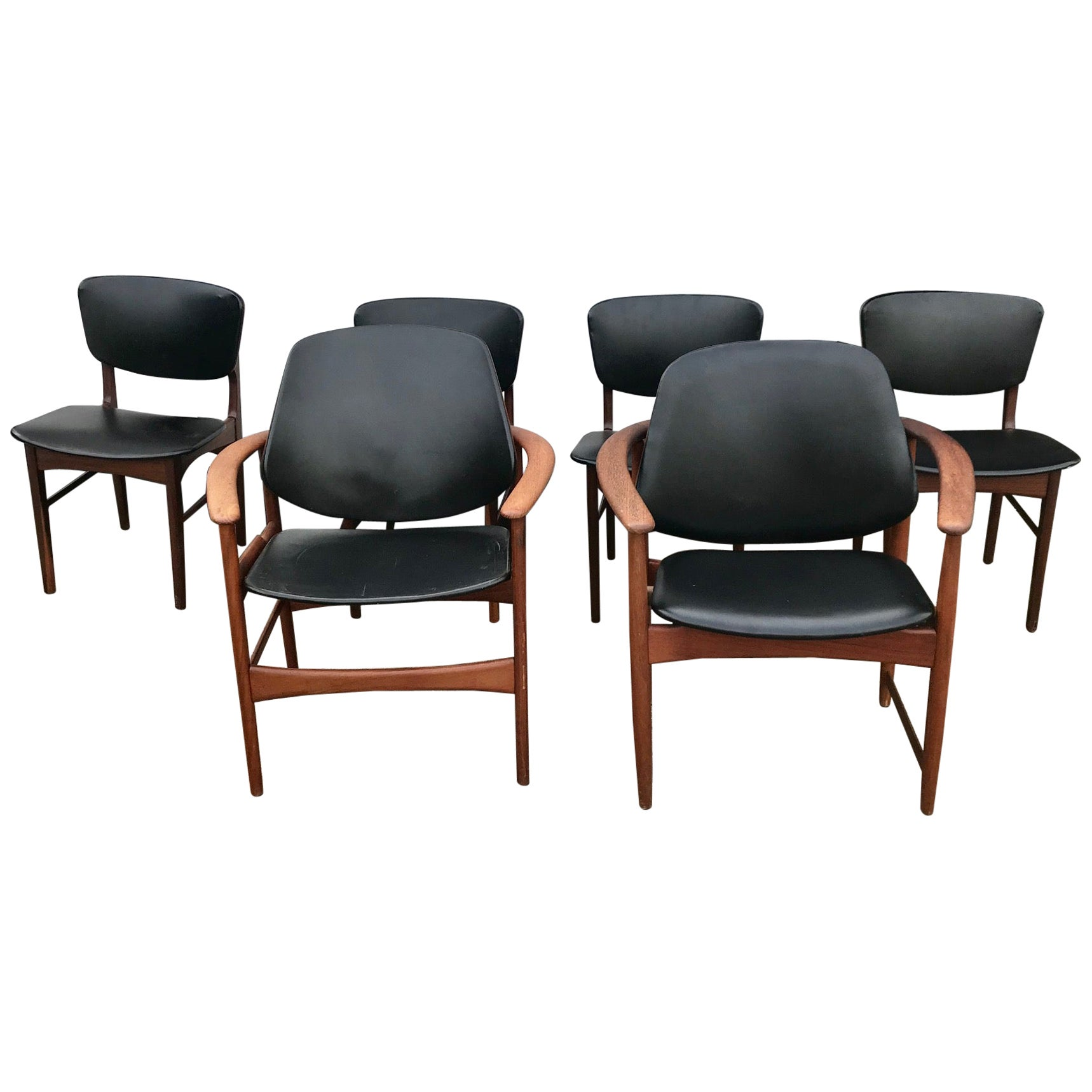 Arne Hovmand Olsen King and Queen Dining Chairs in Teak, Jutex 1950s, Set of 6