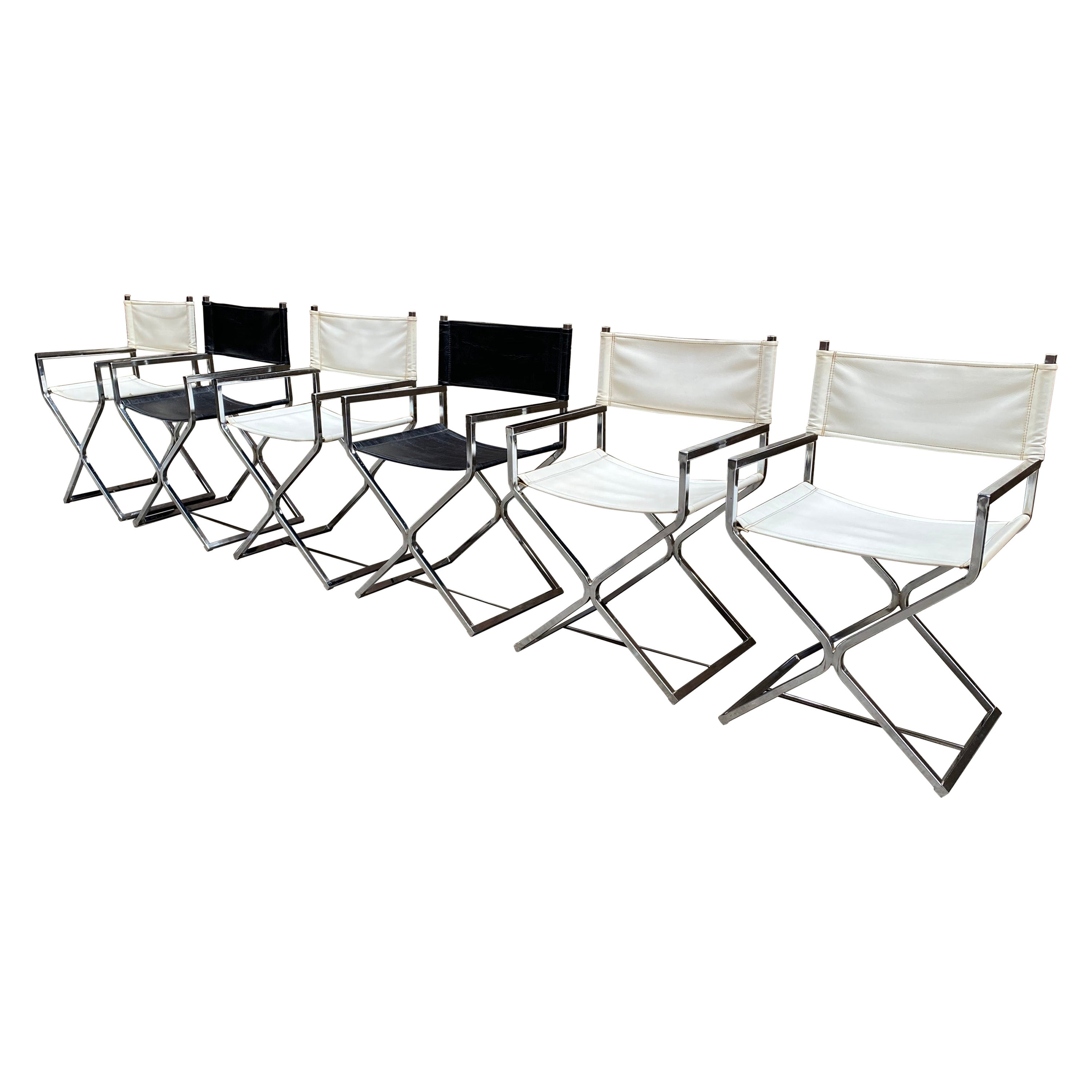 Virtue Brothers Chrome Director's Chairs - Set of Six