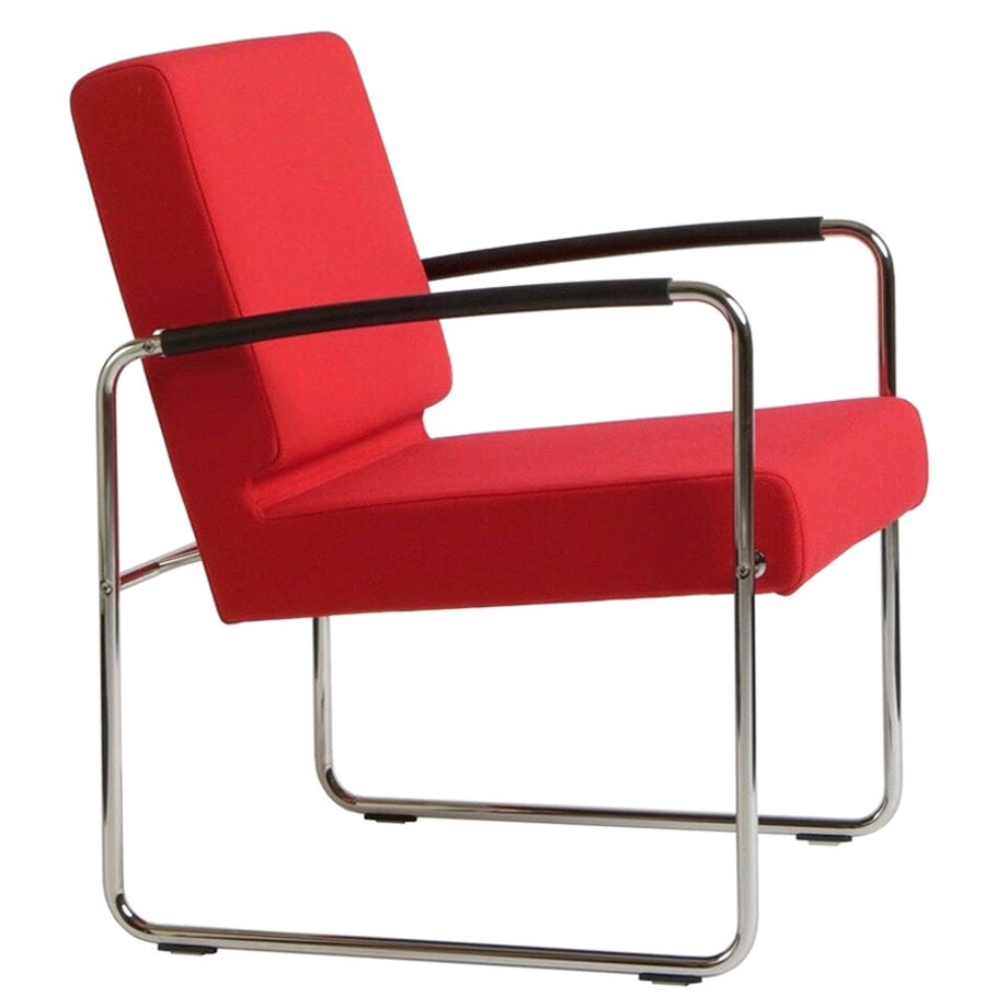 Genio, Swiss Made Red Lounge Chair, in Fabric, in Stock