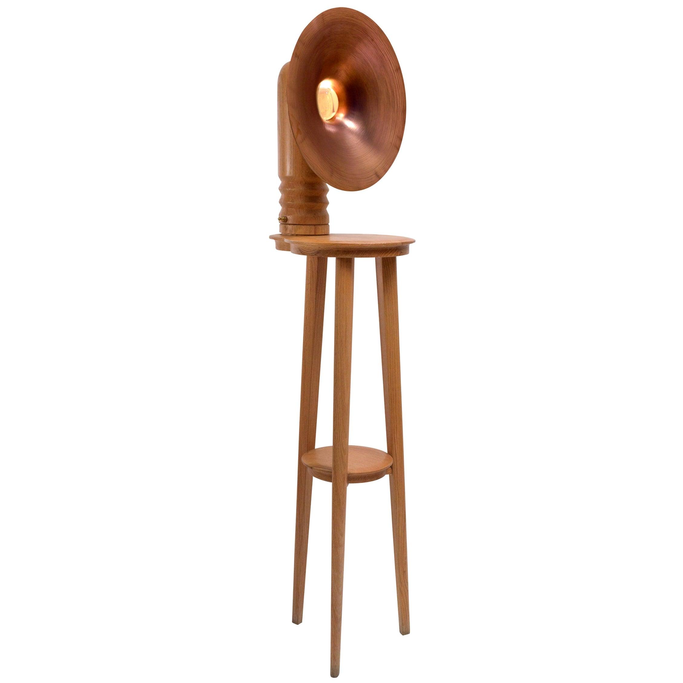 Sousaphone Contemporary Oak Tripod Floor Lamp with Copper Screen