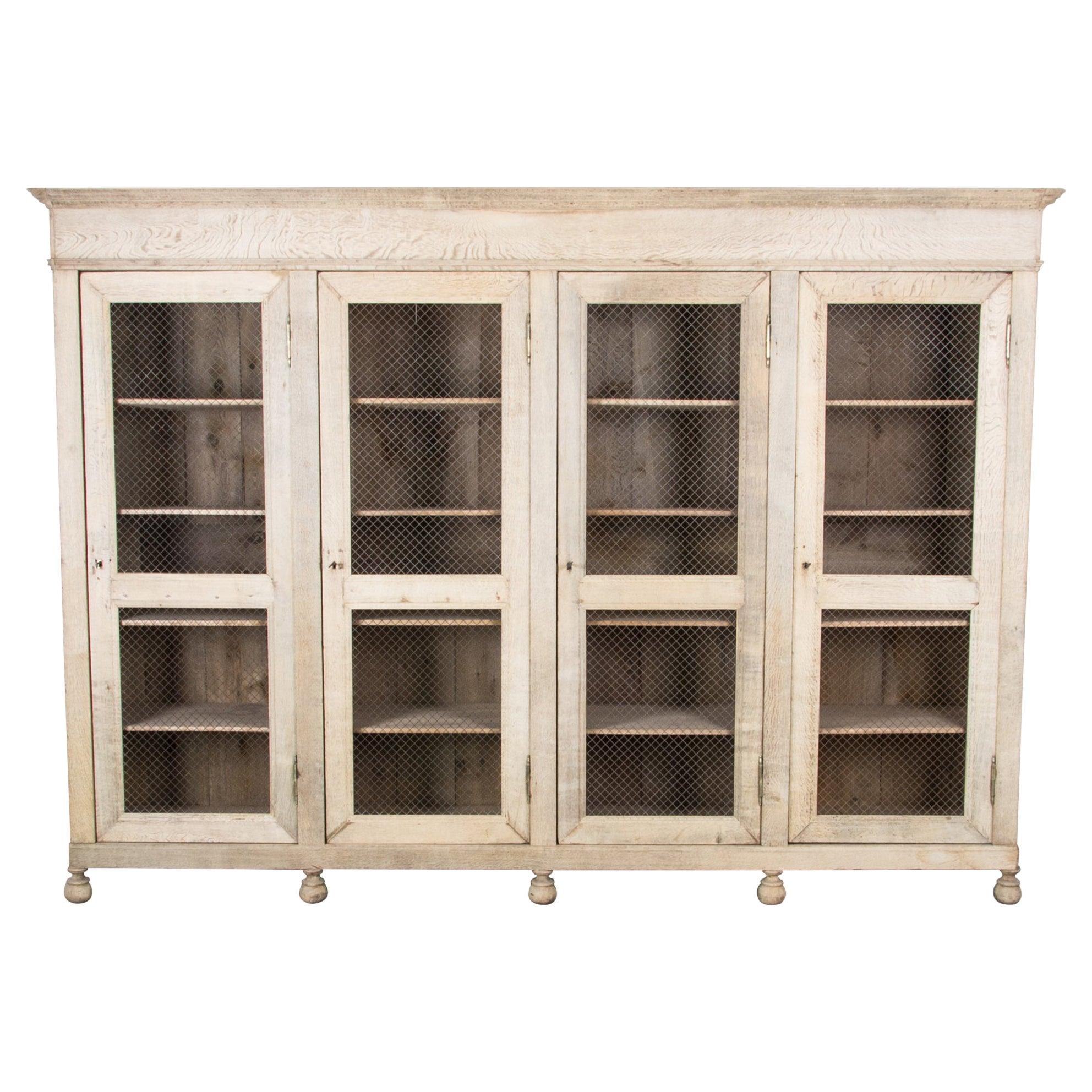 Antique French Oak Screen Door Display Cabinet