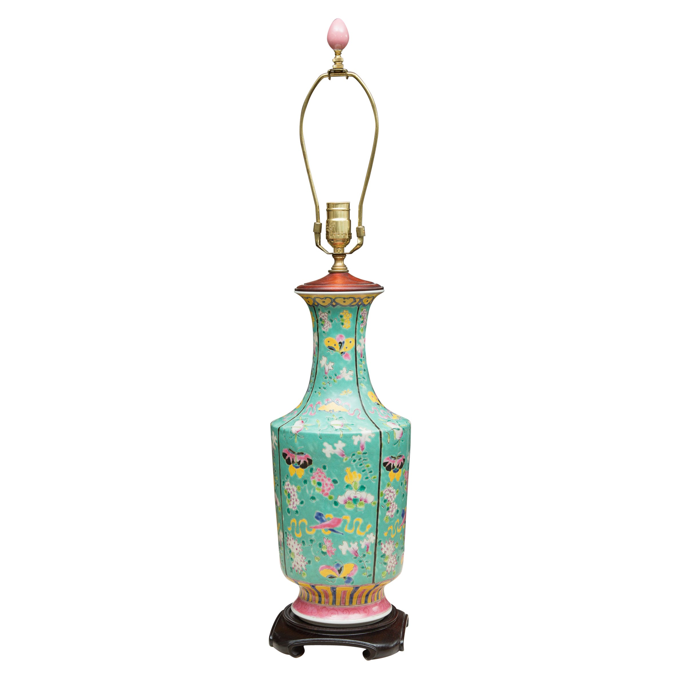 Turquoise Asian Vase as a Table Lamp