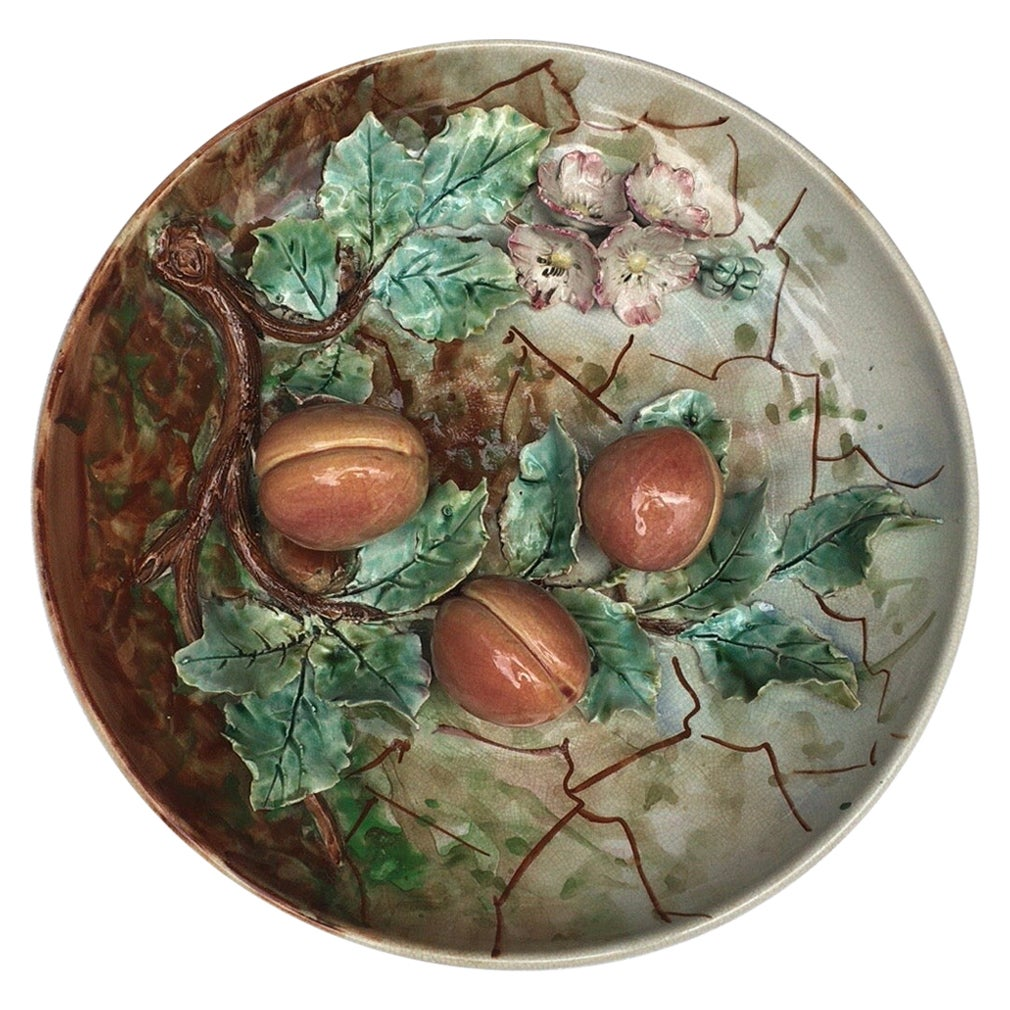 Large 19th Century Majolica Apricots Wall Platter Fives Lille