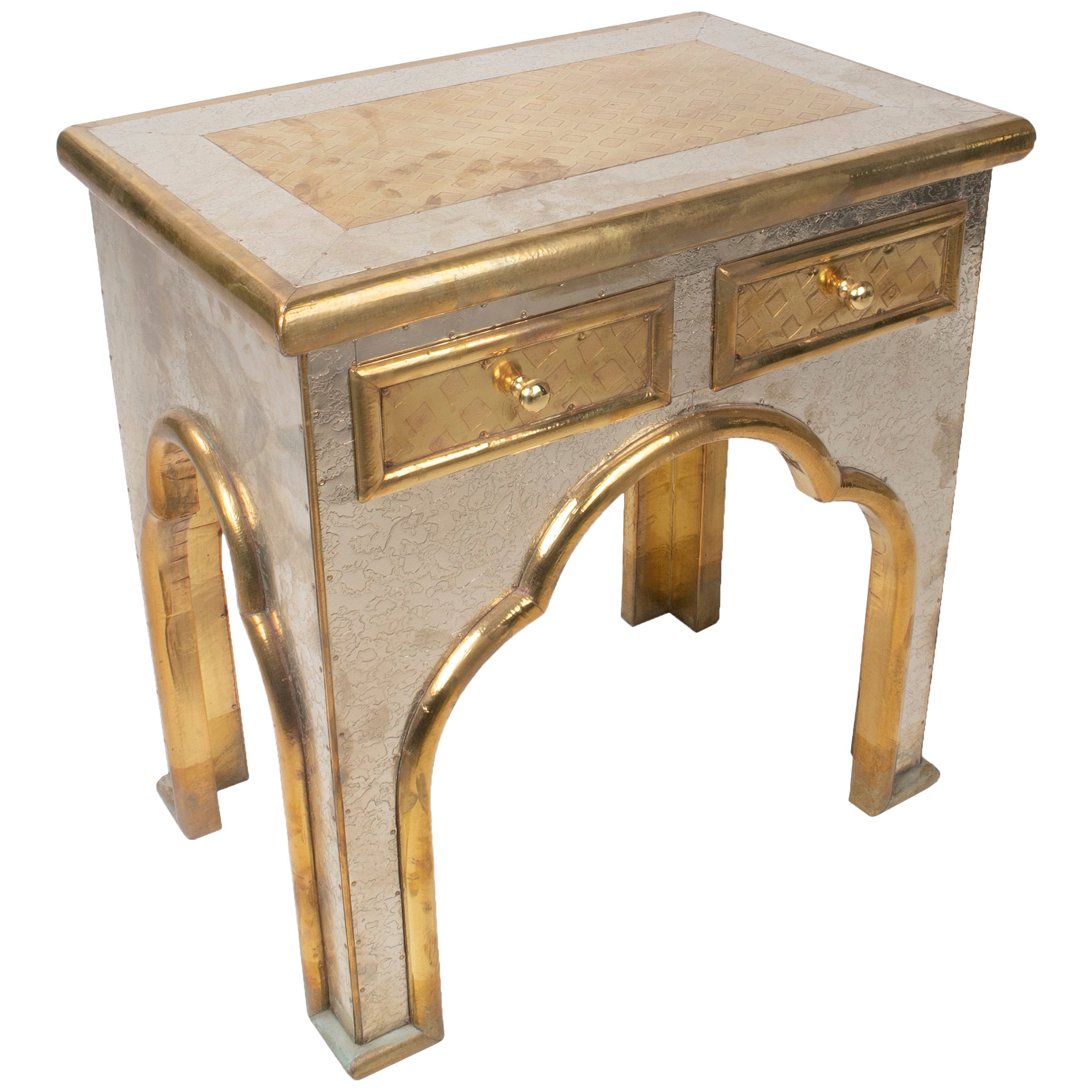 1970s Spanish Two-Drawer Two-Tone Bronze Plated Side Table