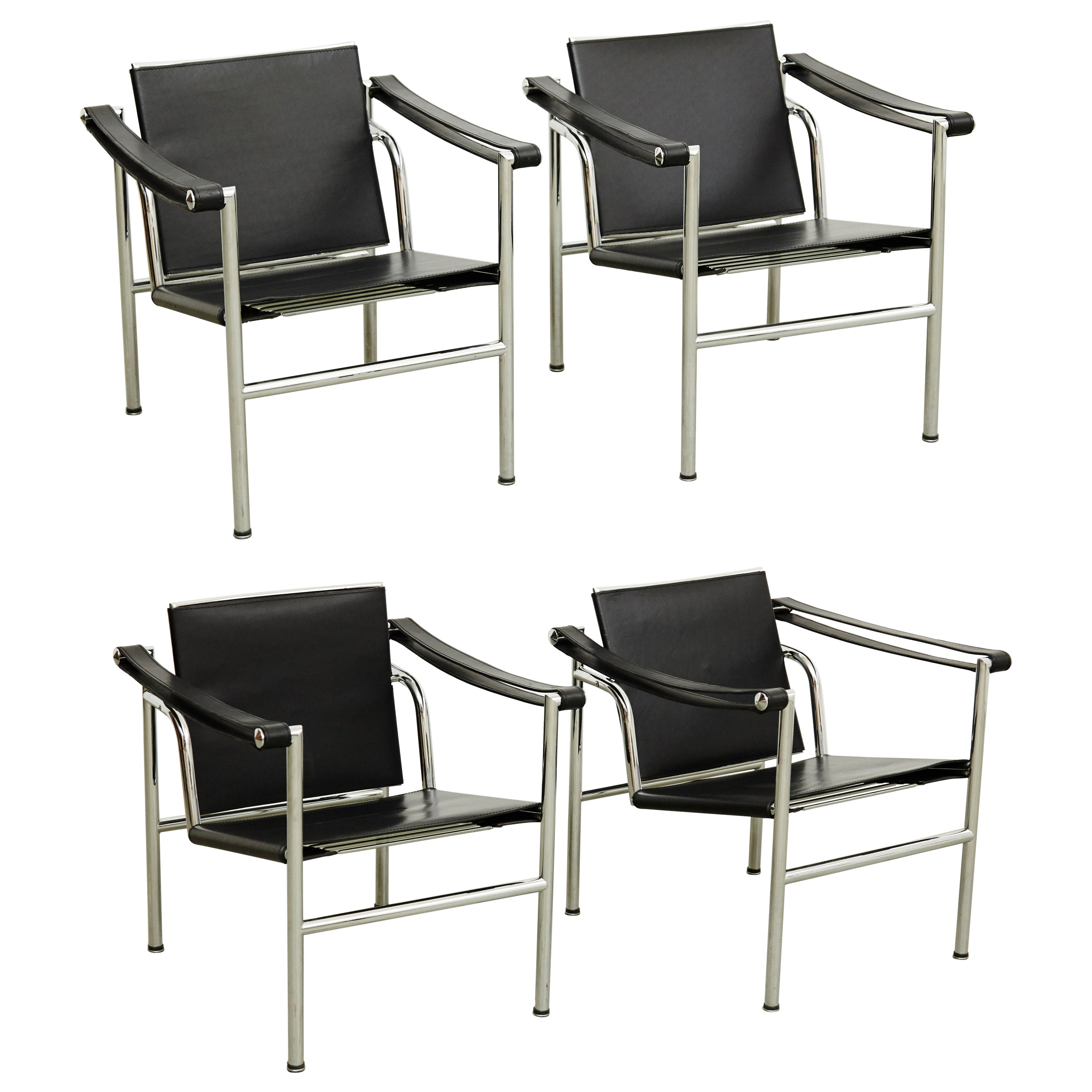 Set of Four Le Corbusier, Pierre Jeanneret Charlotte Perriand LC1 Black Leather